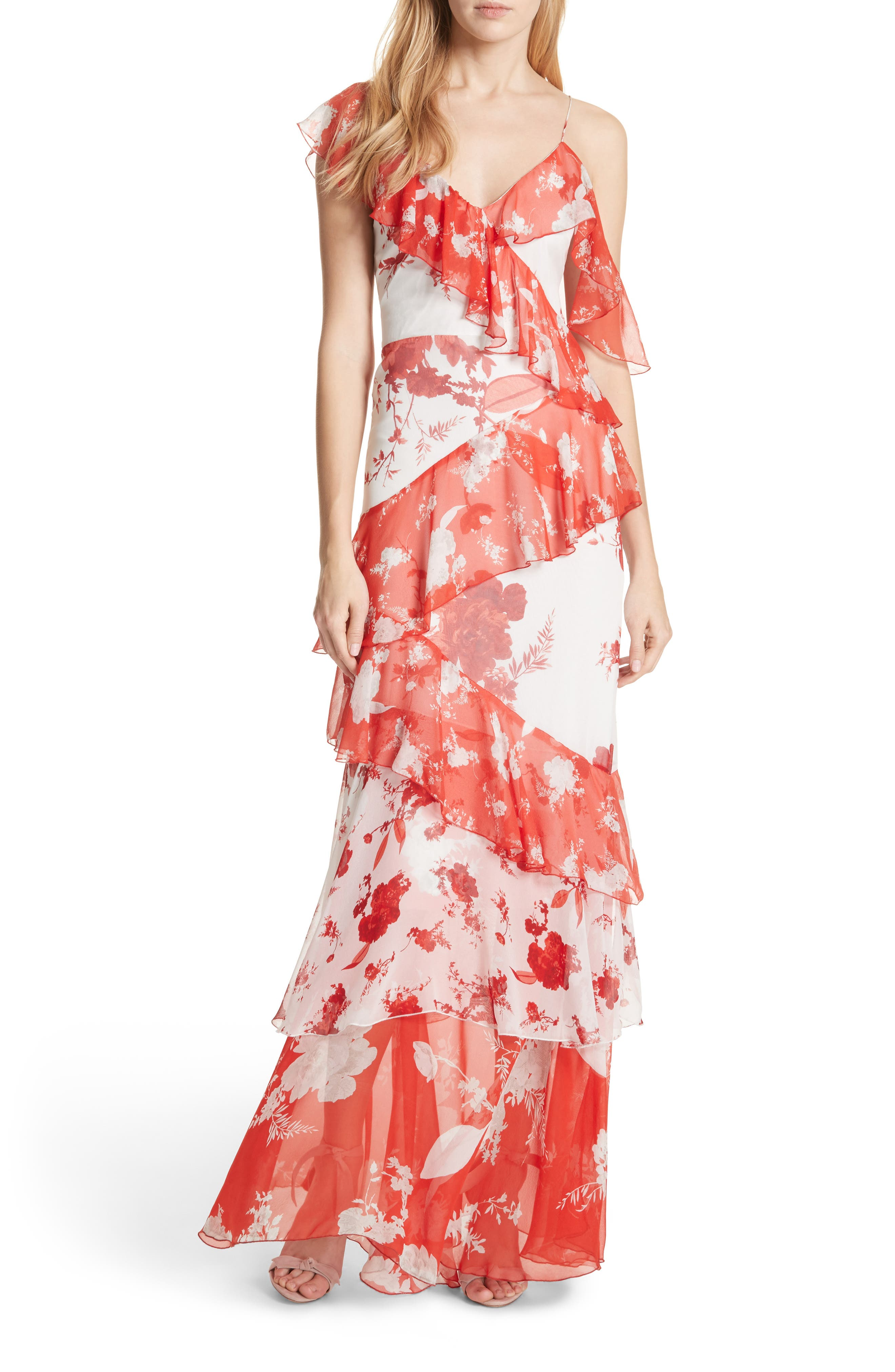Olympia Asymmetrical Silk Maxi Dress,                         Main,                         color, Damask Rose- Soft White