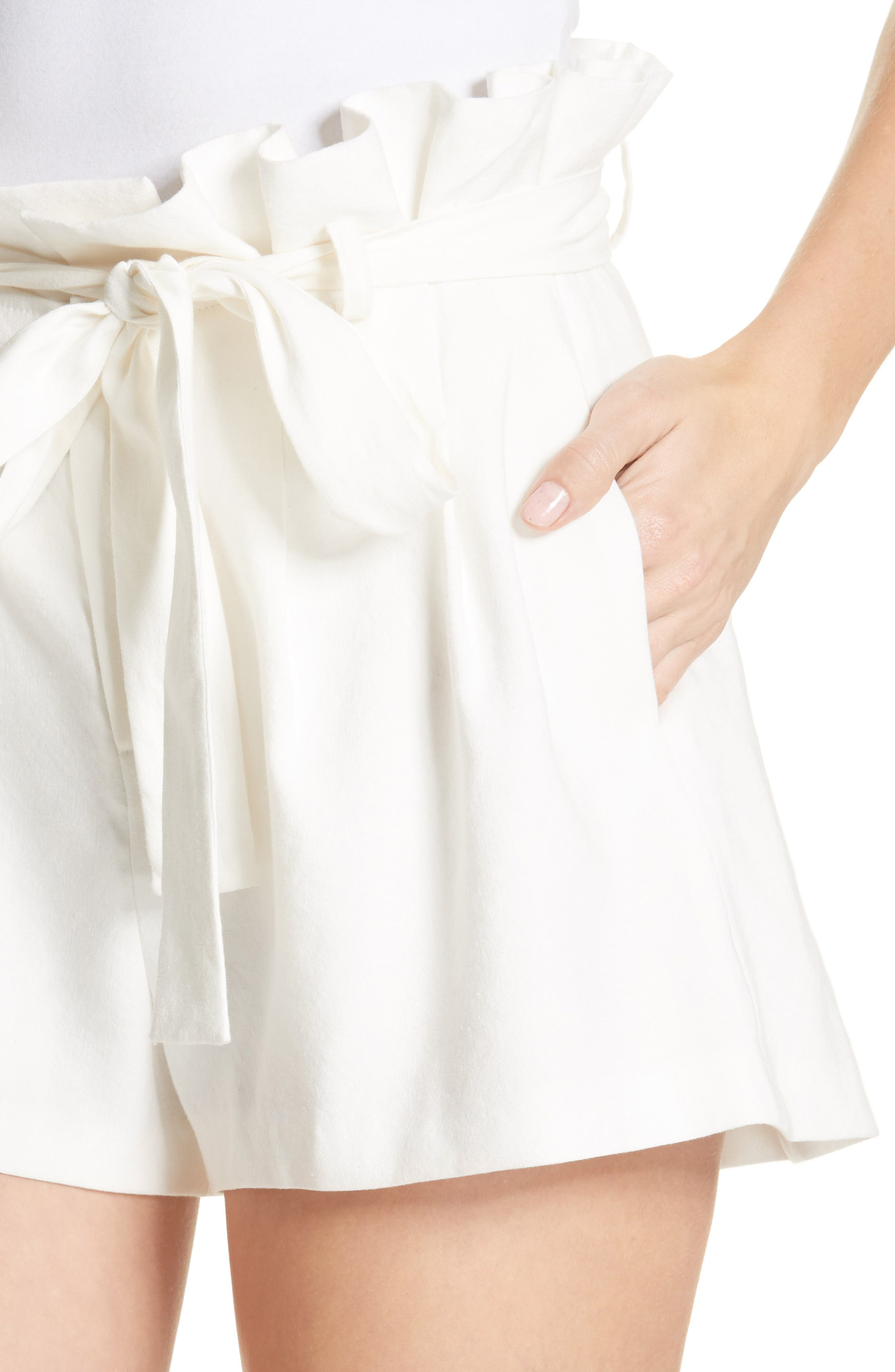 Laurine Paperbag Shorts,                             Alternate thumbnail 4, color,                             Off White
