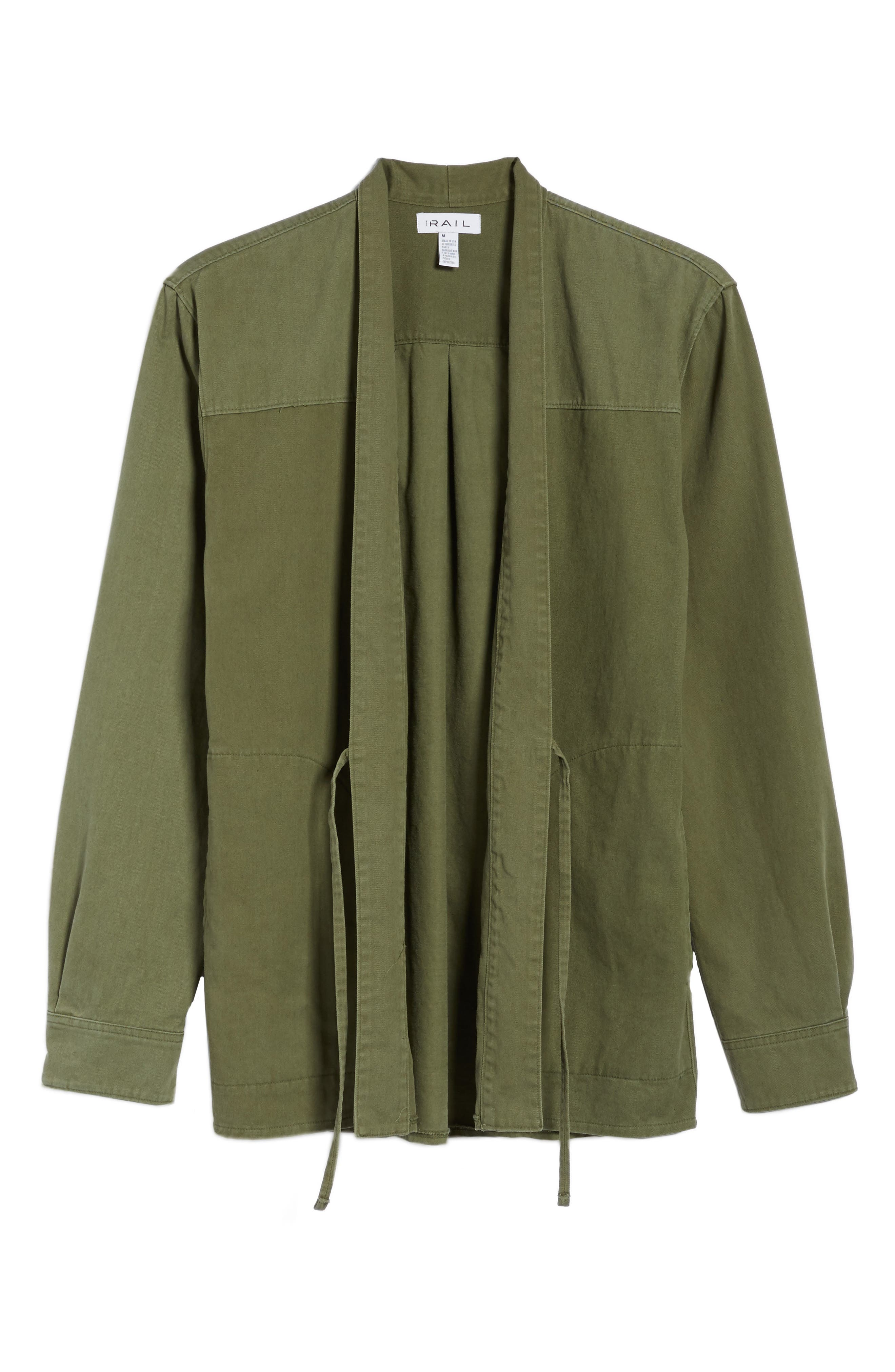 Woven Kimono Cardigan,                             Alternate thumbnail 6, color,                             Green Moss