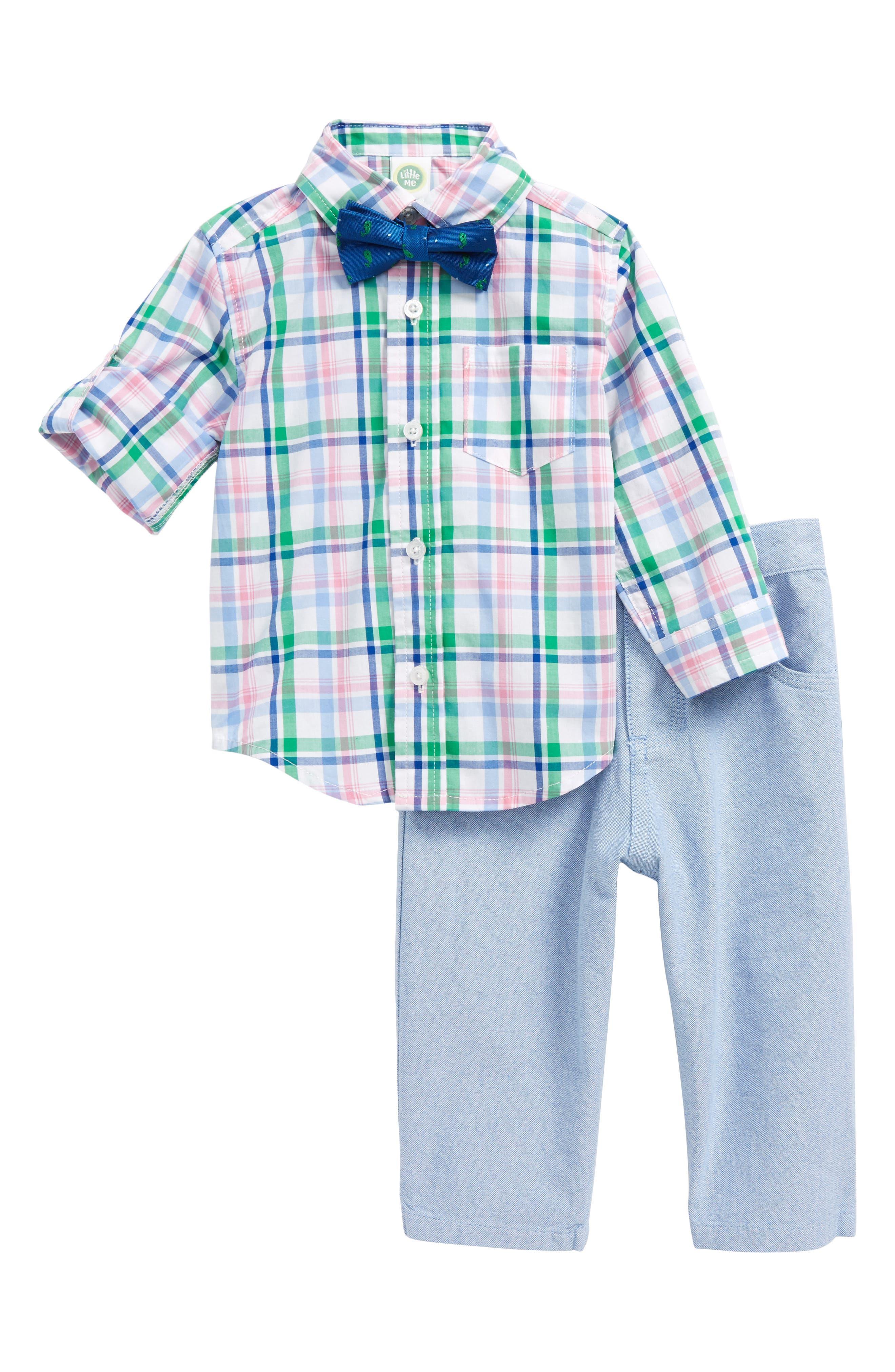 Little Me Plaid Shirt, Pants & Bow Tie Set (Baby Boys)