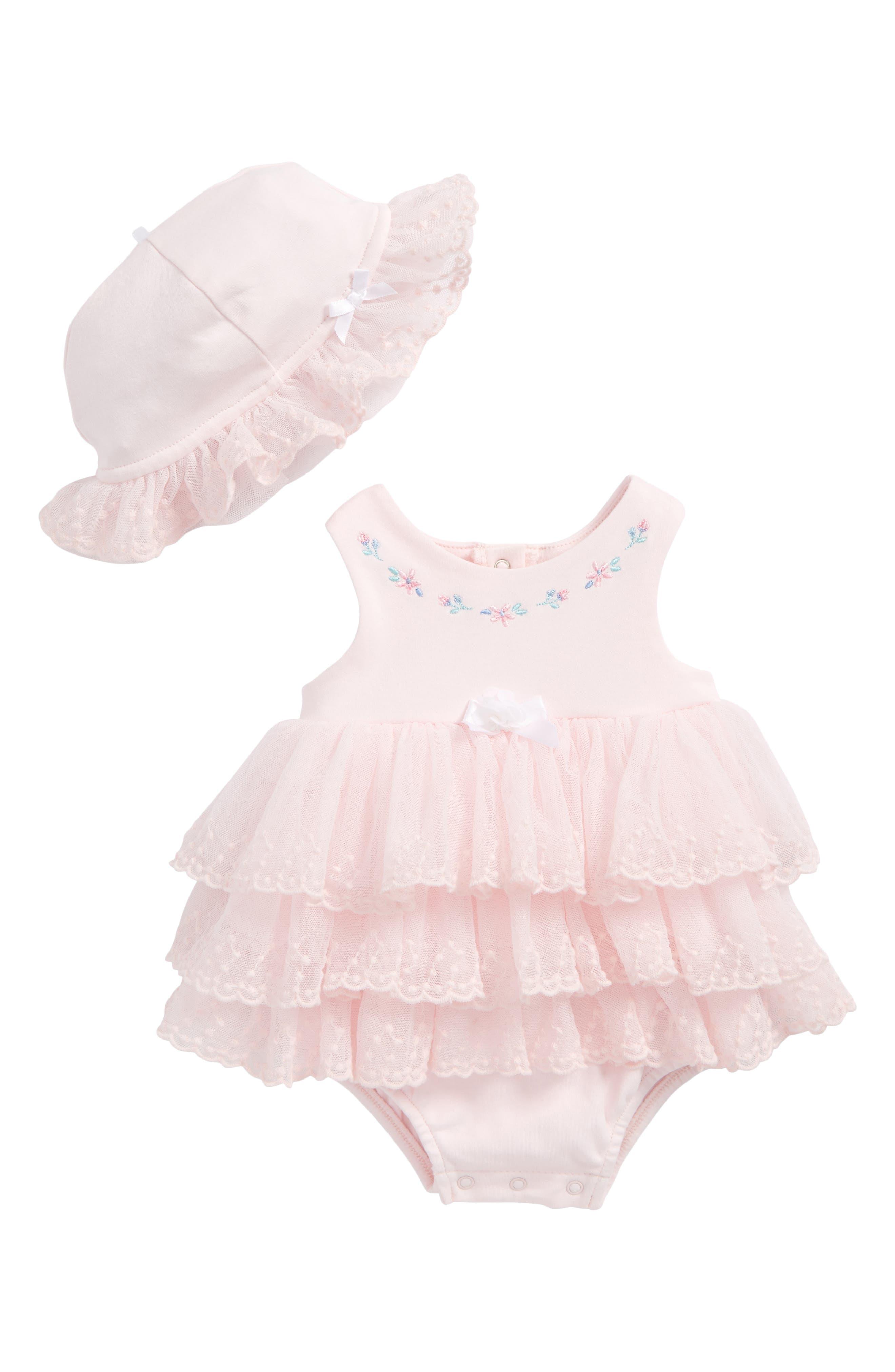 Little Me Sweet Rose Skirted Bodysuit & Hat Set (Baby Girls)