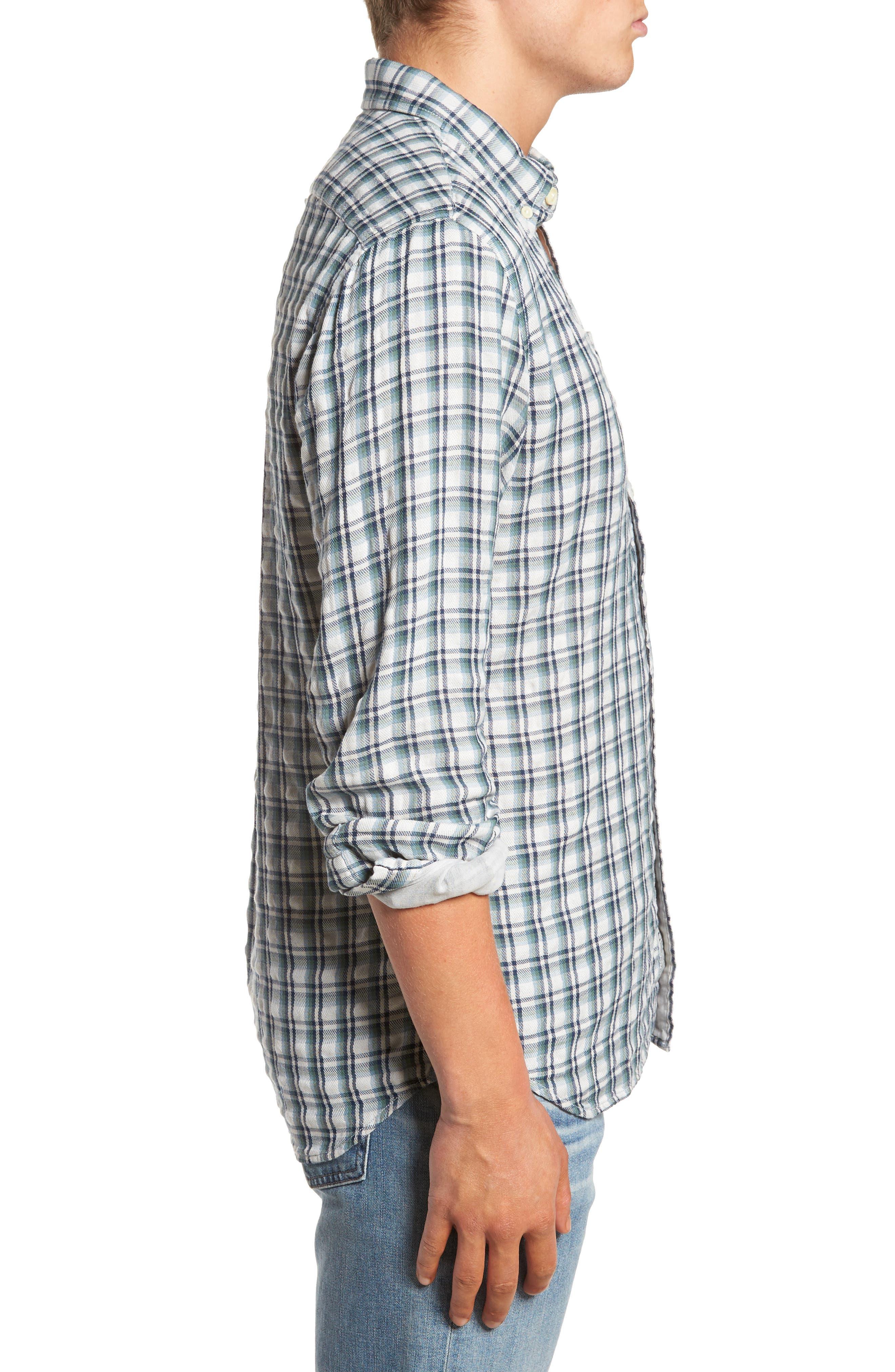 Boulder Double Cloth Plaid Sport Shirt,                             Alternate thumbnail 3, color,                             Cream Green Navy