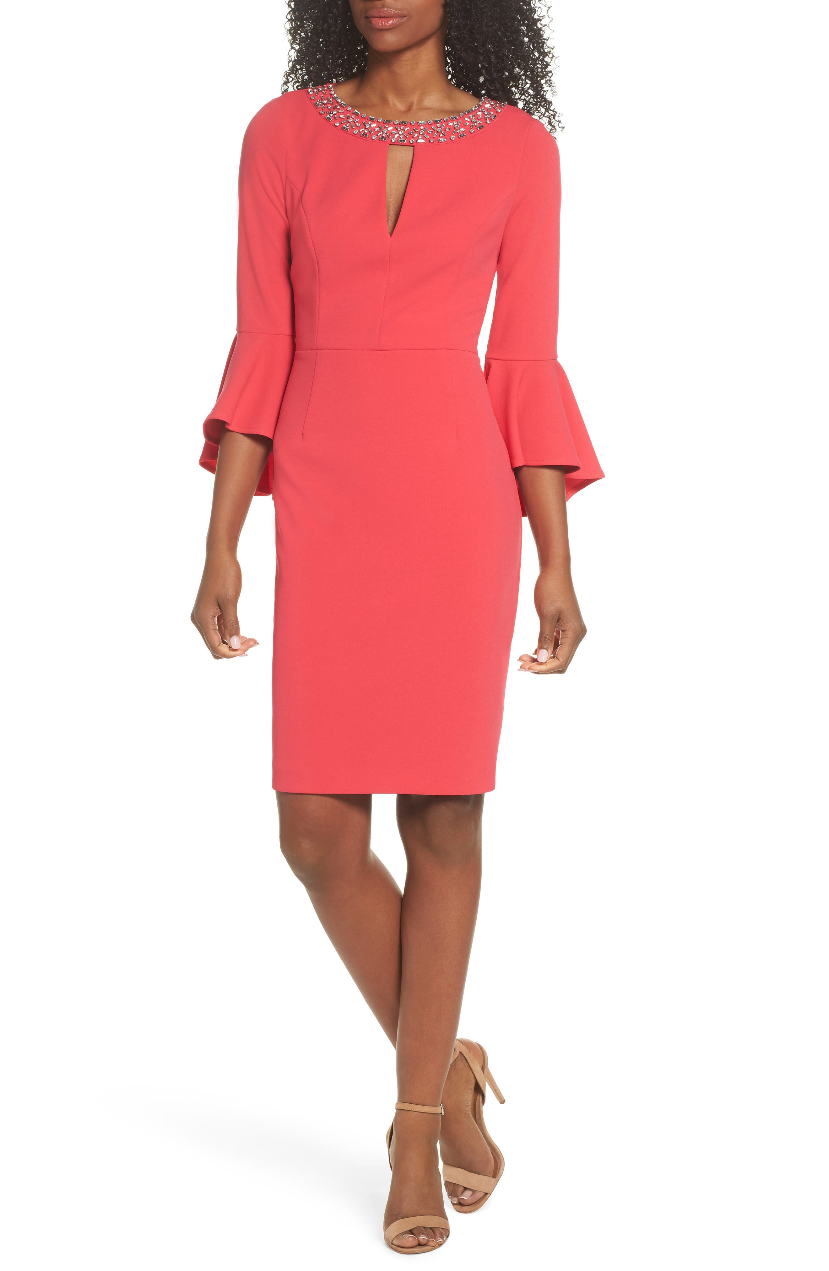 Embellished Bell Sleeve Sheath Dress,                         Main,                         color, Berry