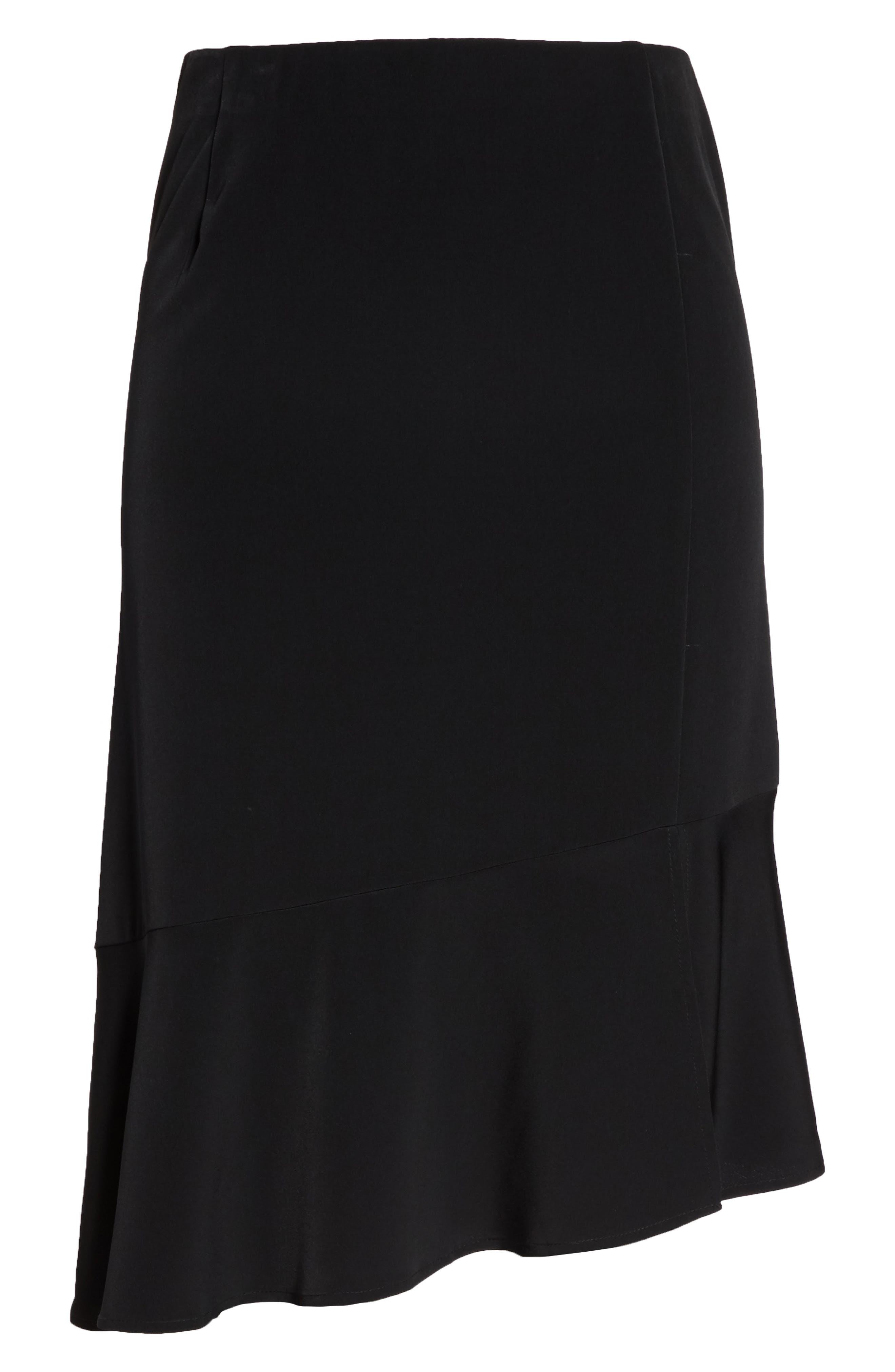 Slit Hem Skirt,                             Alternate thumbnail 6, color,                             Black