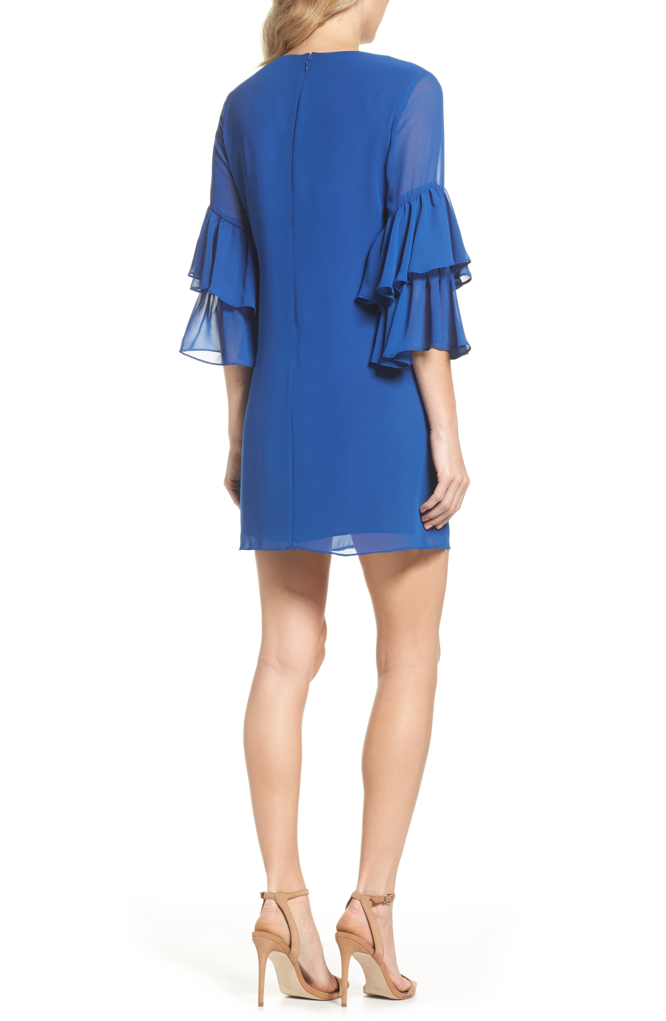 Carmen Tiered Ruffle Sleeve Shift Dress,                             Alternate thumbnail 2, color,                             Deep Sapphire