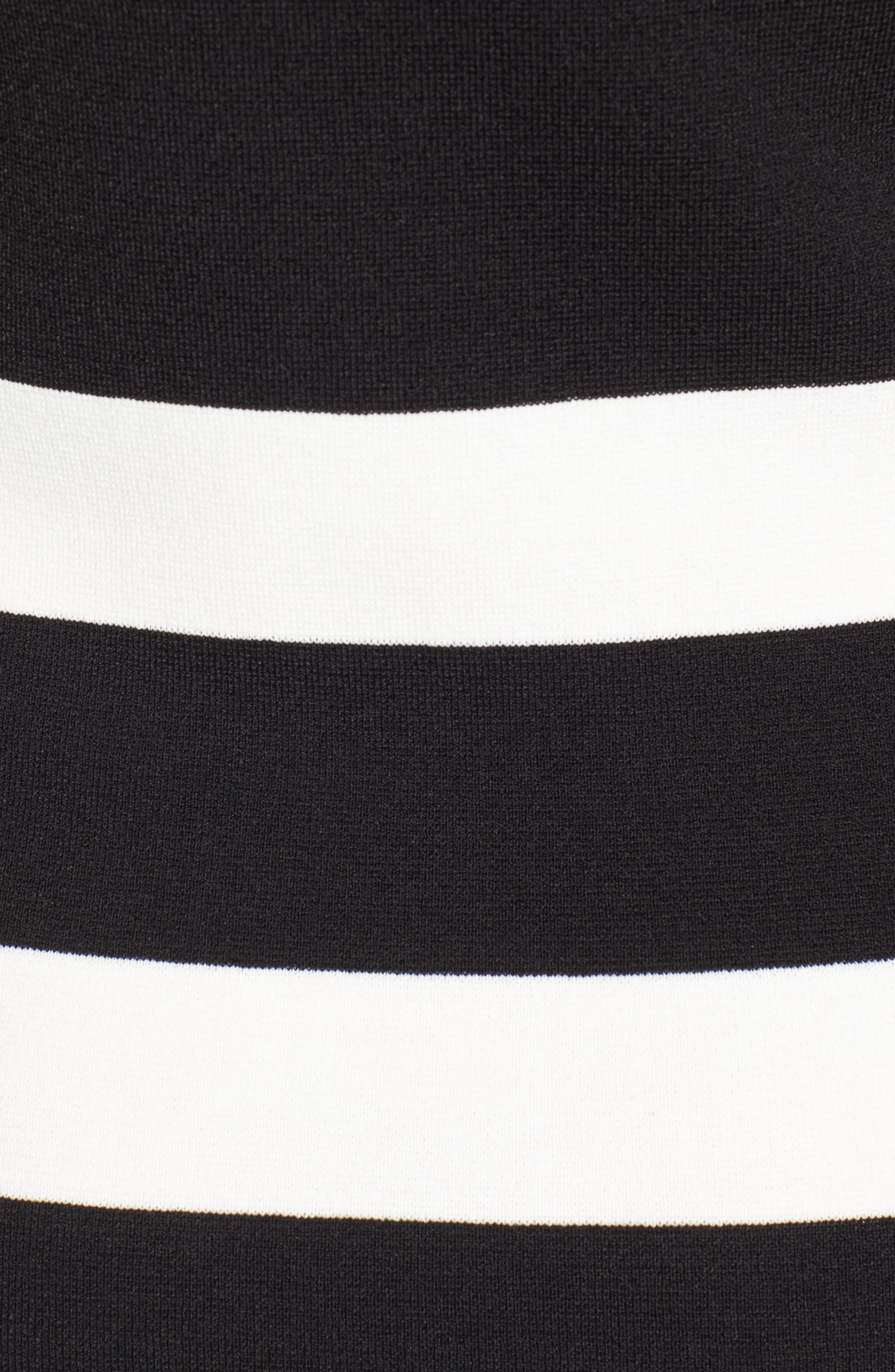 Bow Back Striped Sweater Dress,                             Alternate thumbnail 5, color,                             Black/ White