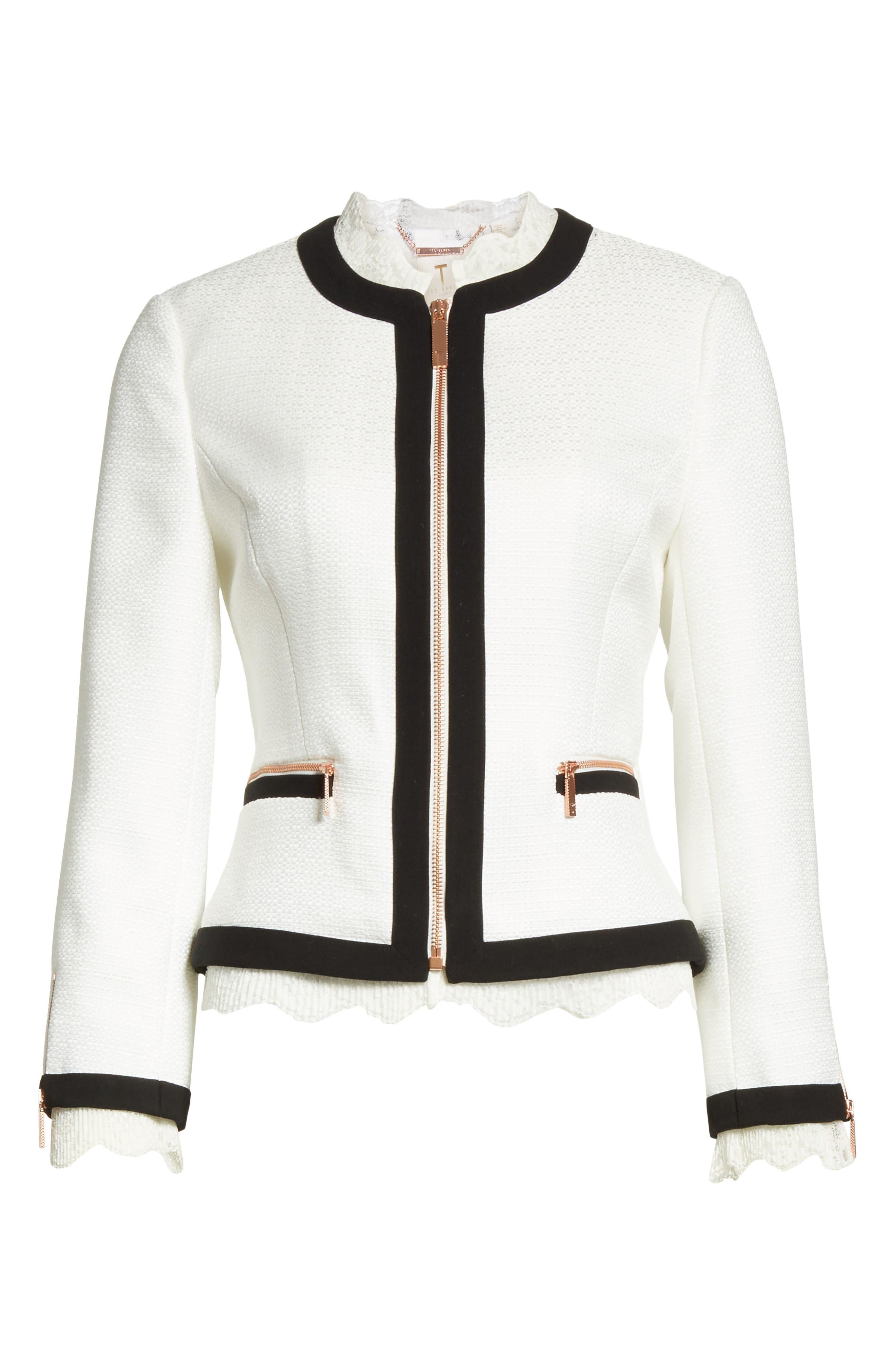 Lace Trim Crop Jacket,                             Alternate thumbnail 6, color,                             White