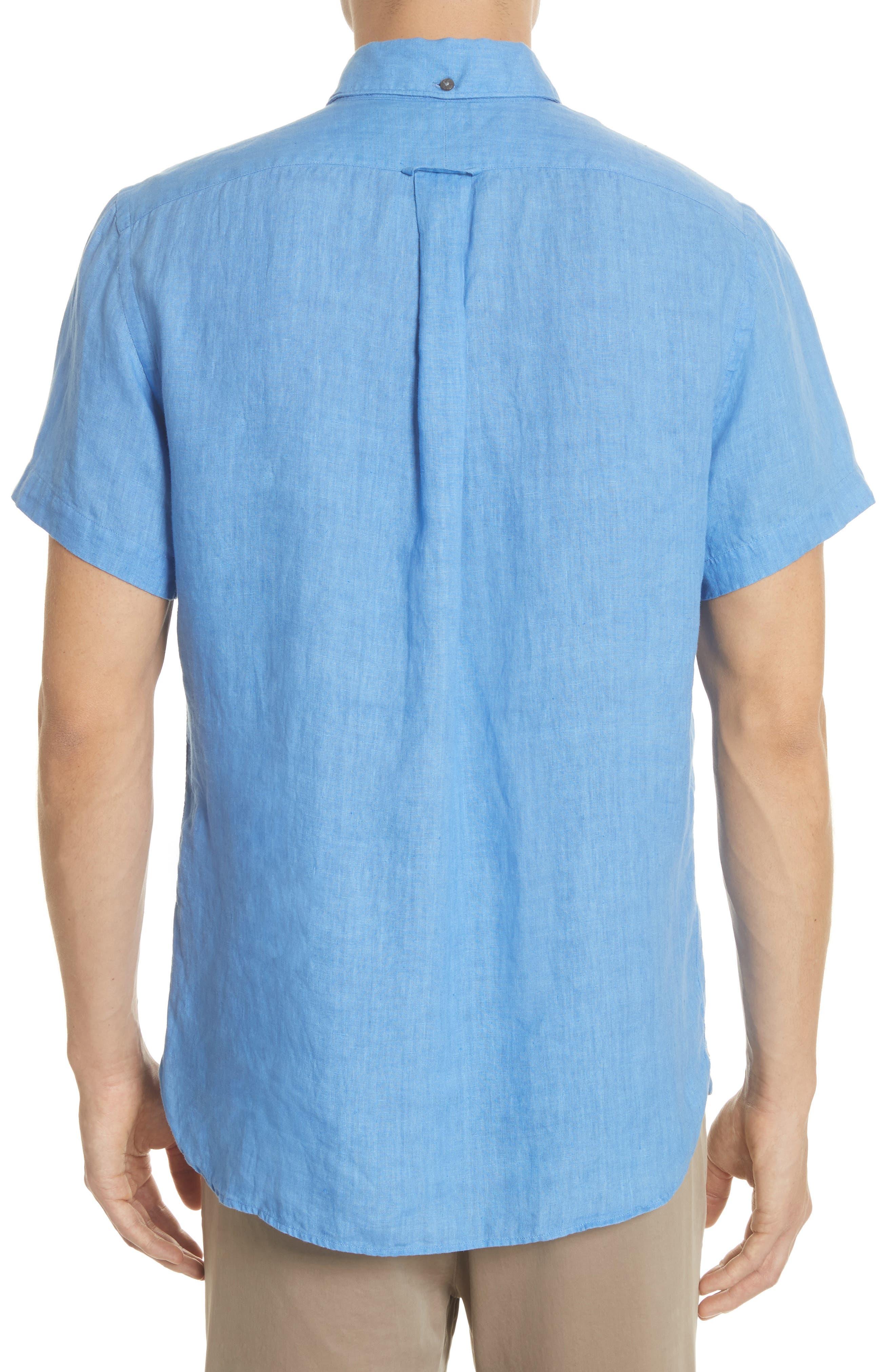 Short Sleeve Woven Linen Shirt,                             Alternate thumbnail 2, color,                             Blue