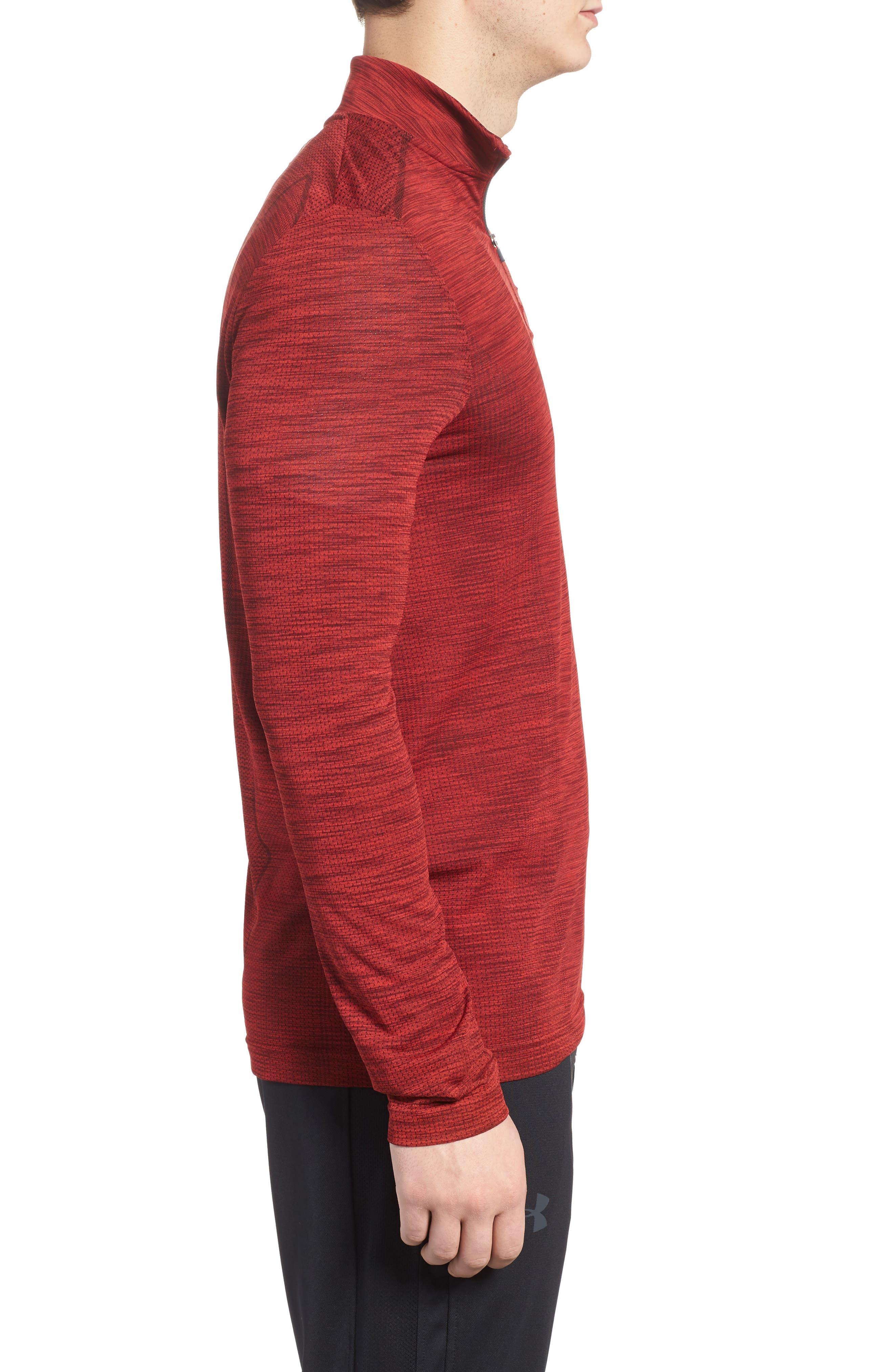 Threadborne Seamless Quarter Zip Pullover,                             Alternate thumbnail 3, color,                             Pierce / Rhino Grey