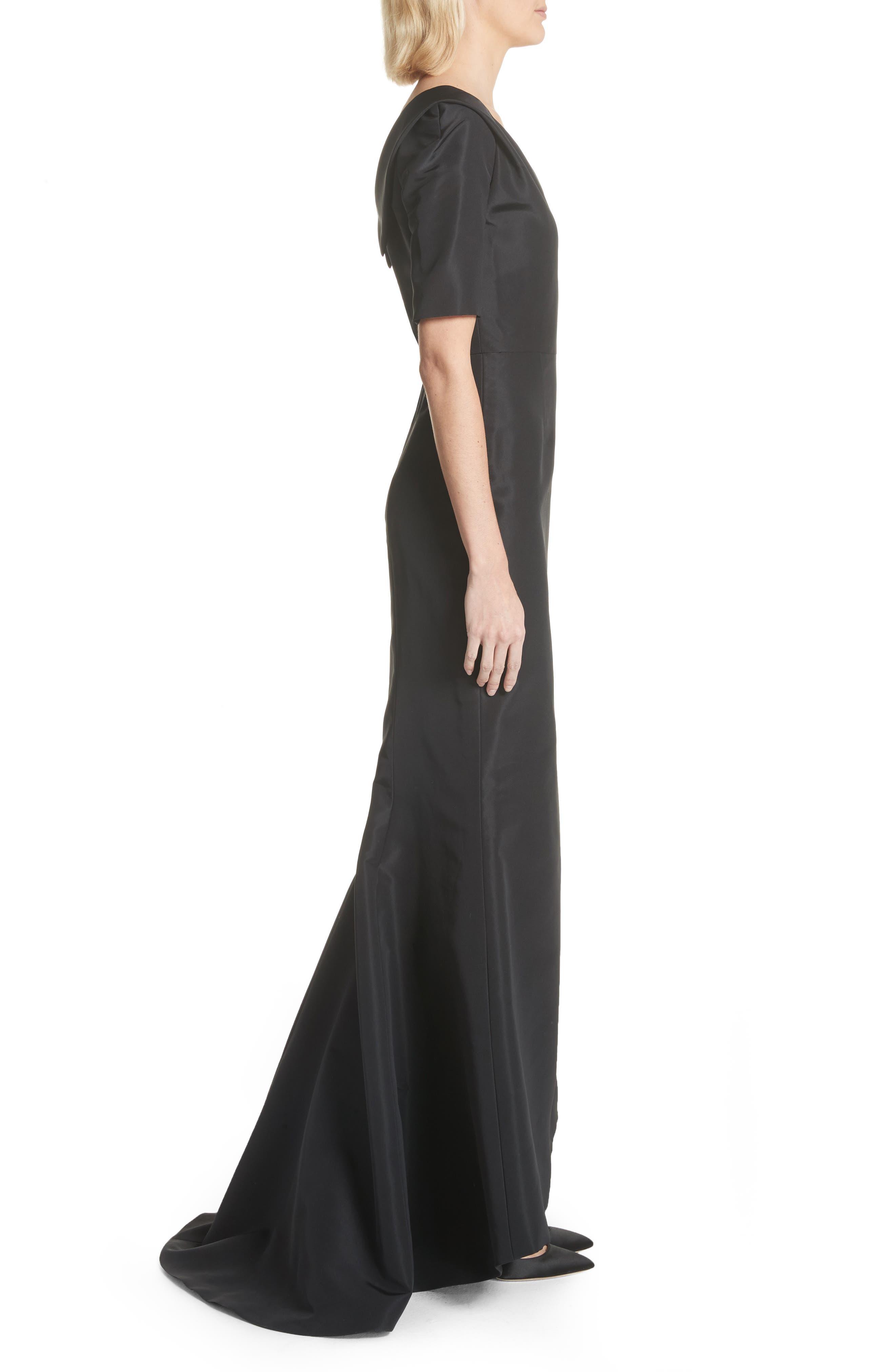 Silk Faille Mermaid Gown,                             Alternate thumbnail 3, color,                             Black