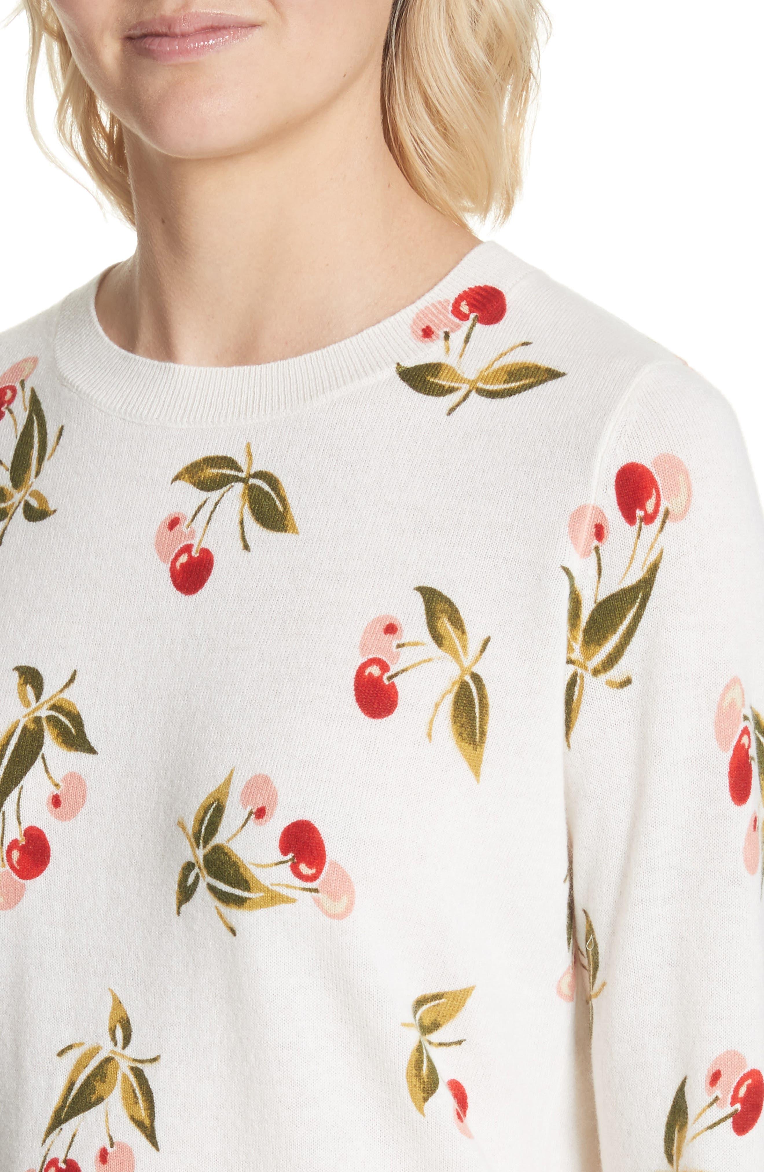 Print Cashmere Sweater,                             Alternate thumbnail 4, color,                             Porcelain
