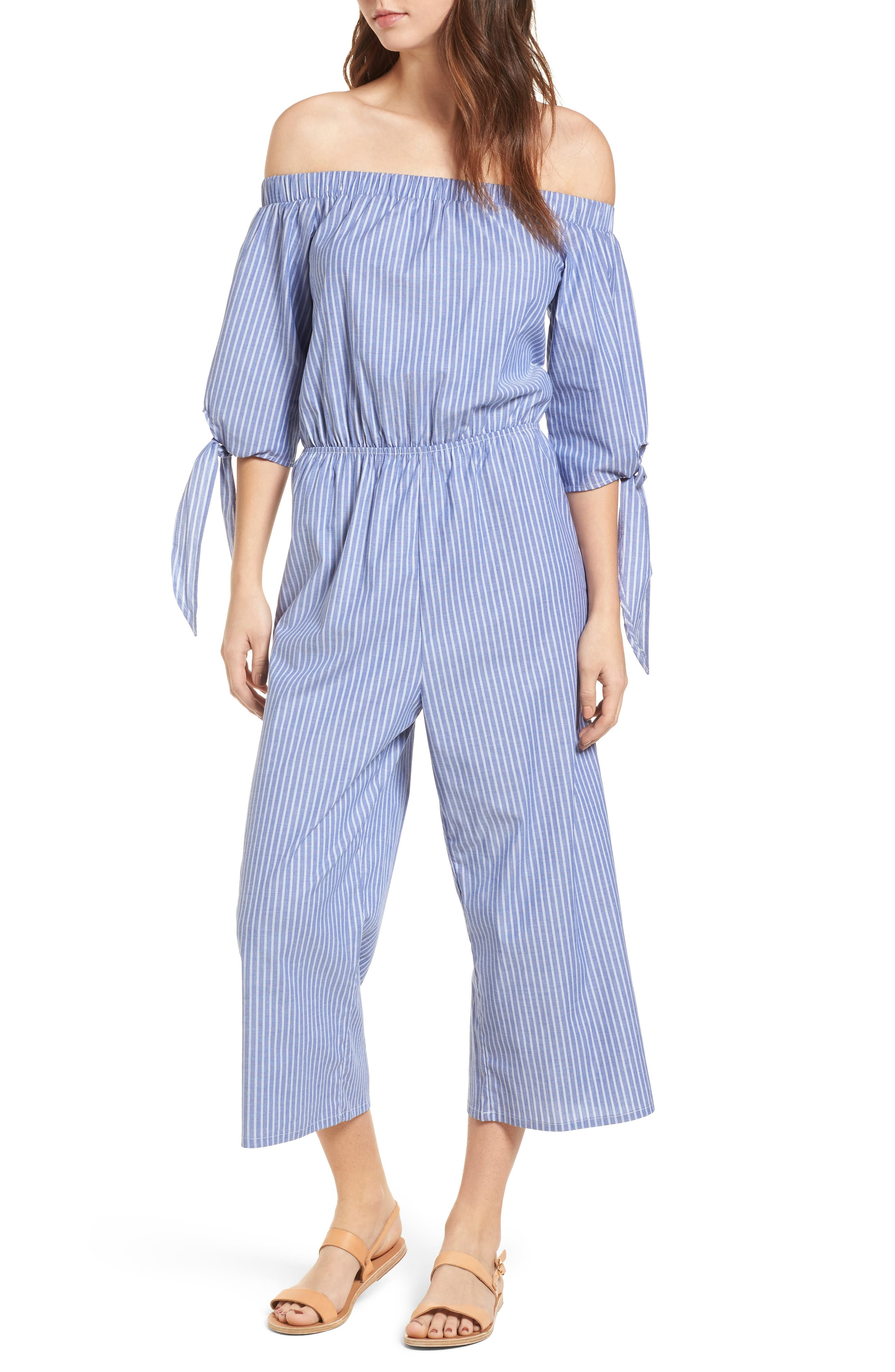 Stripe Off the Shoulder Jumpsuit,                         Main,                         color, Stripe