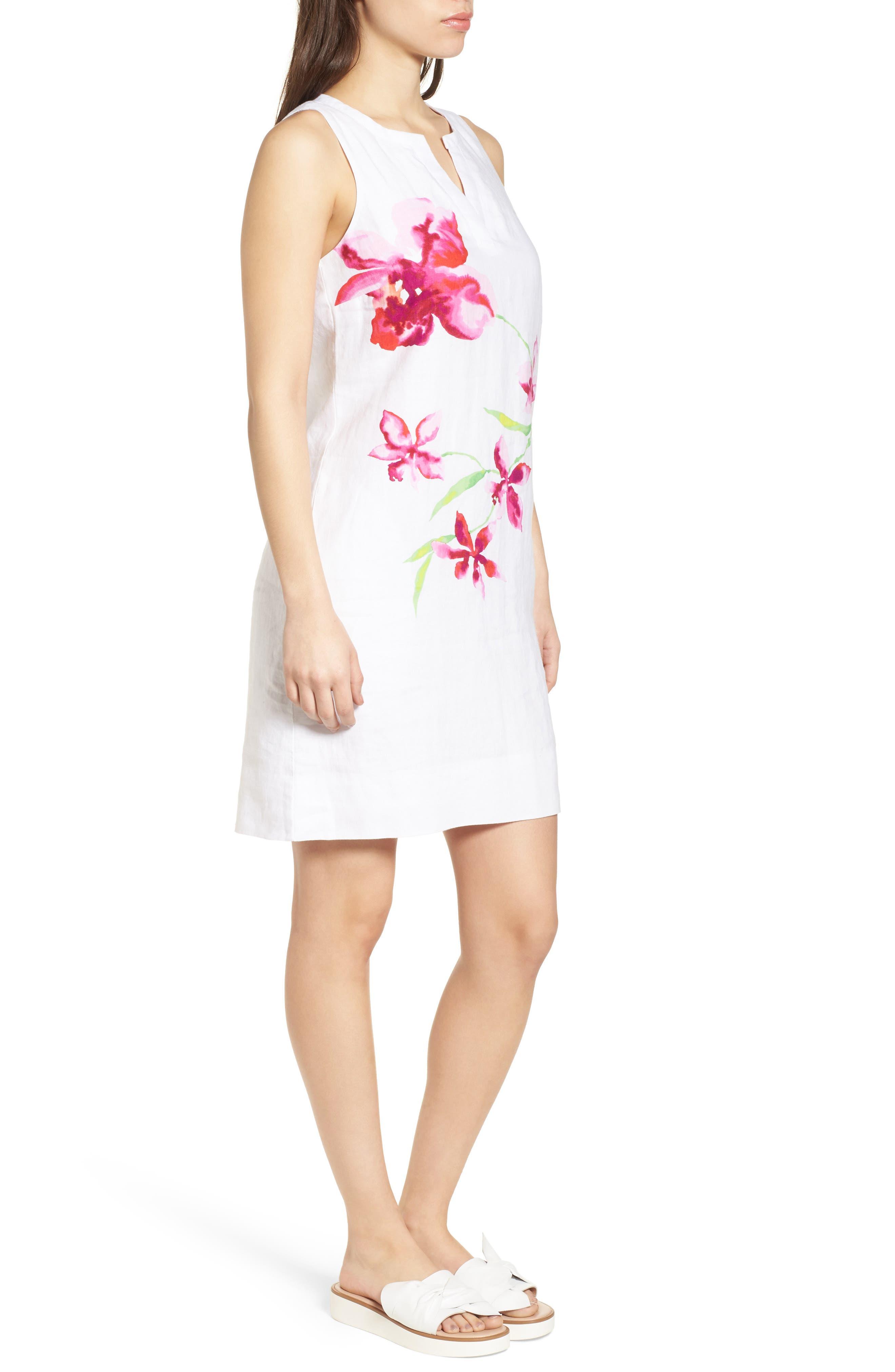 Floral Fade Shift Dress,                             Alternate thumbnail 3, color,                             White