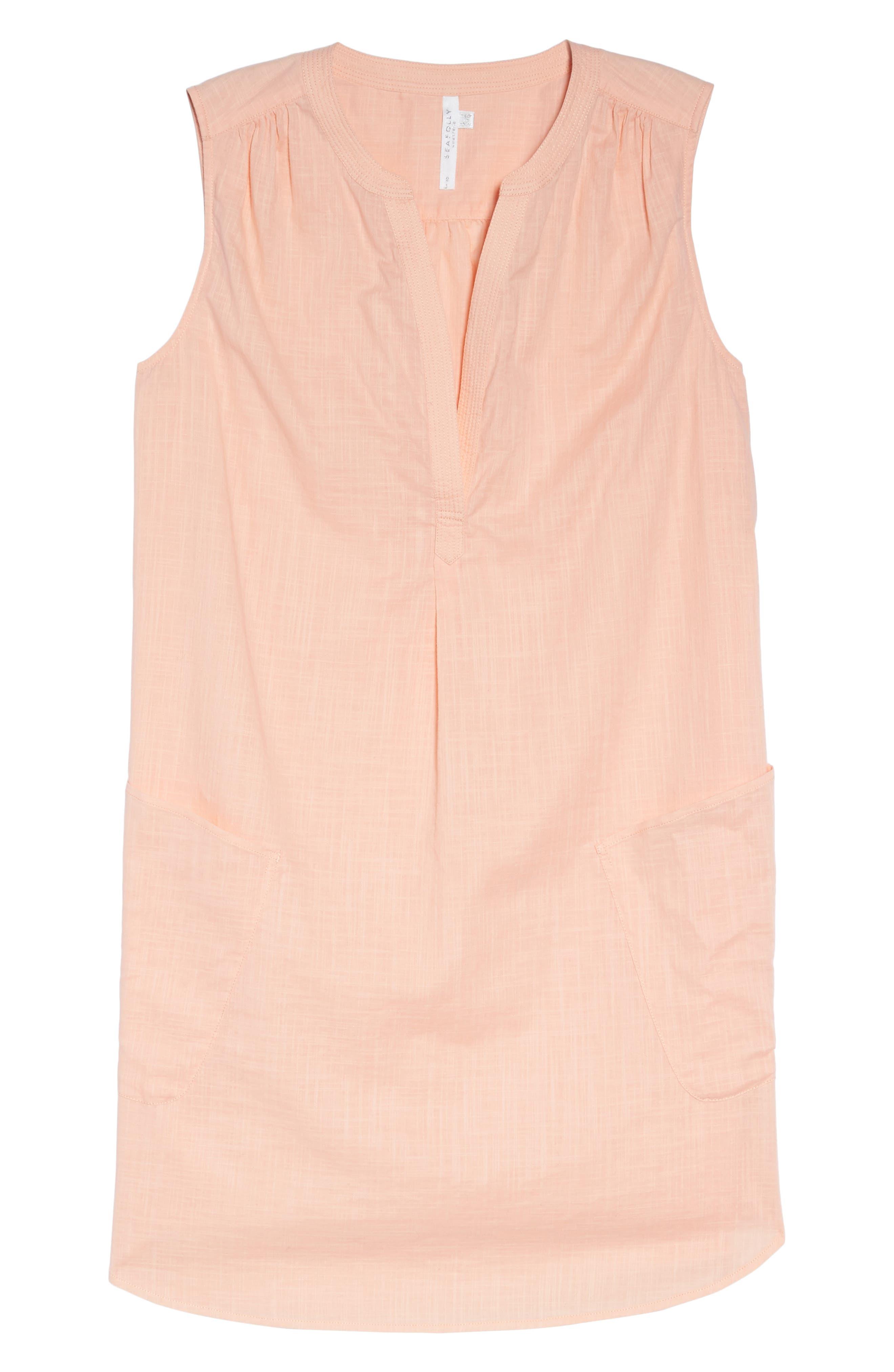 Palm Beach Cover-Up Dress,                             Alternate thumbnail 6, color,                             Peach Melba