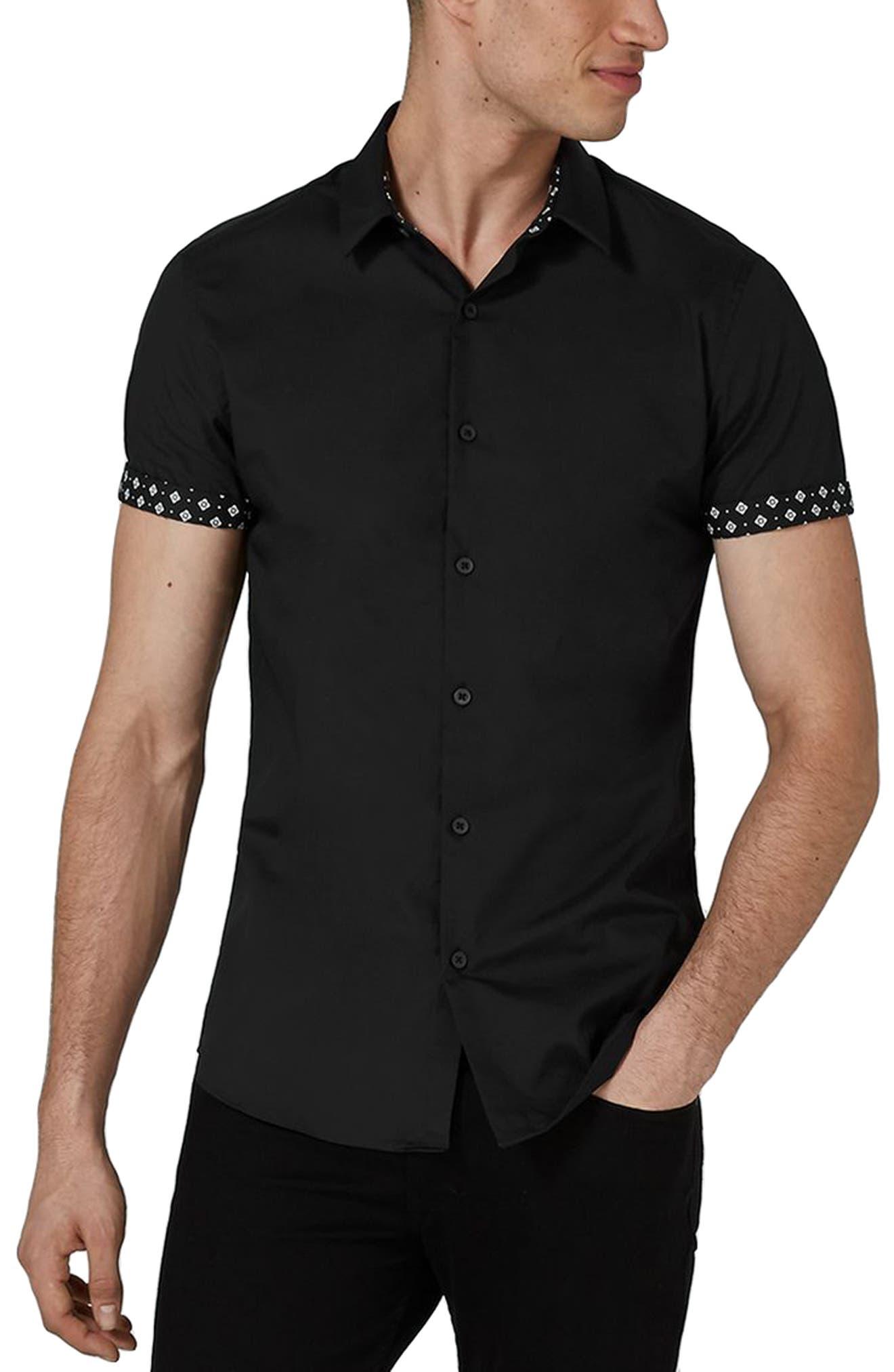 Slim Fit Geo Print Shirt,                             Main thumbnail 1, color,                             Black Multi