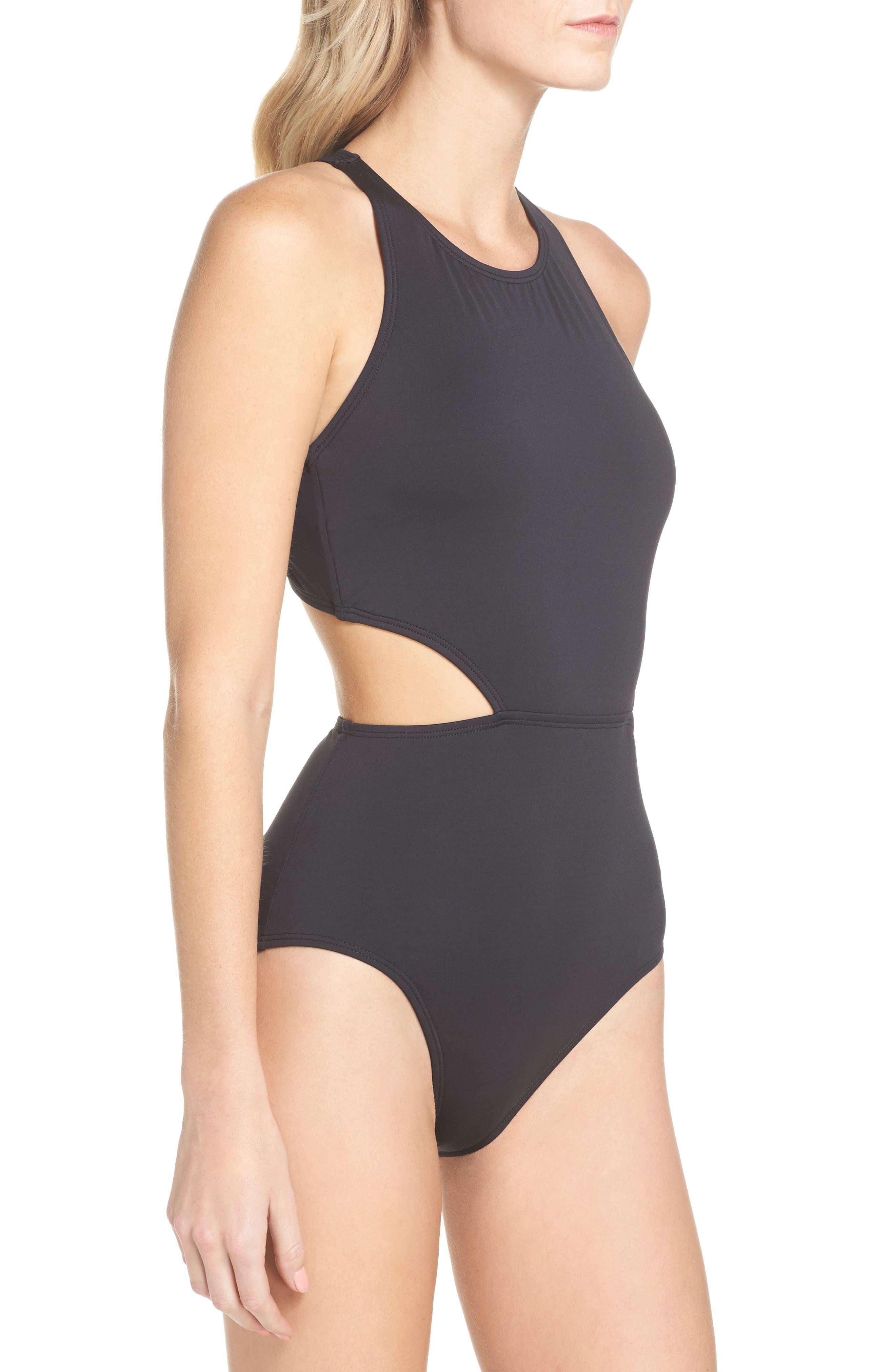 Pearl Cutout One-Piece Swimsuit,                             Alternate thumbnail 3, color,                             Black