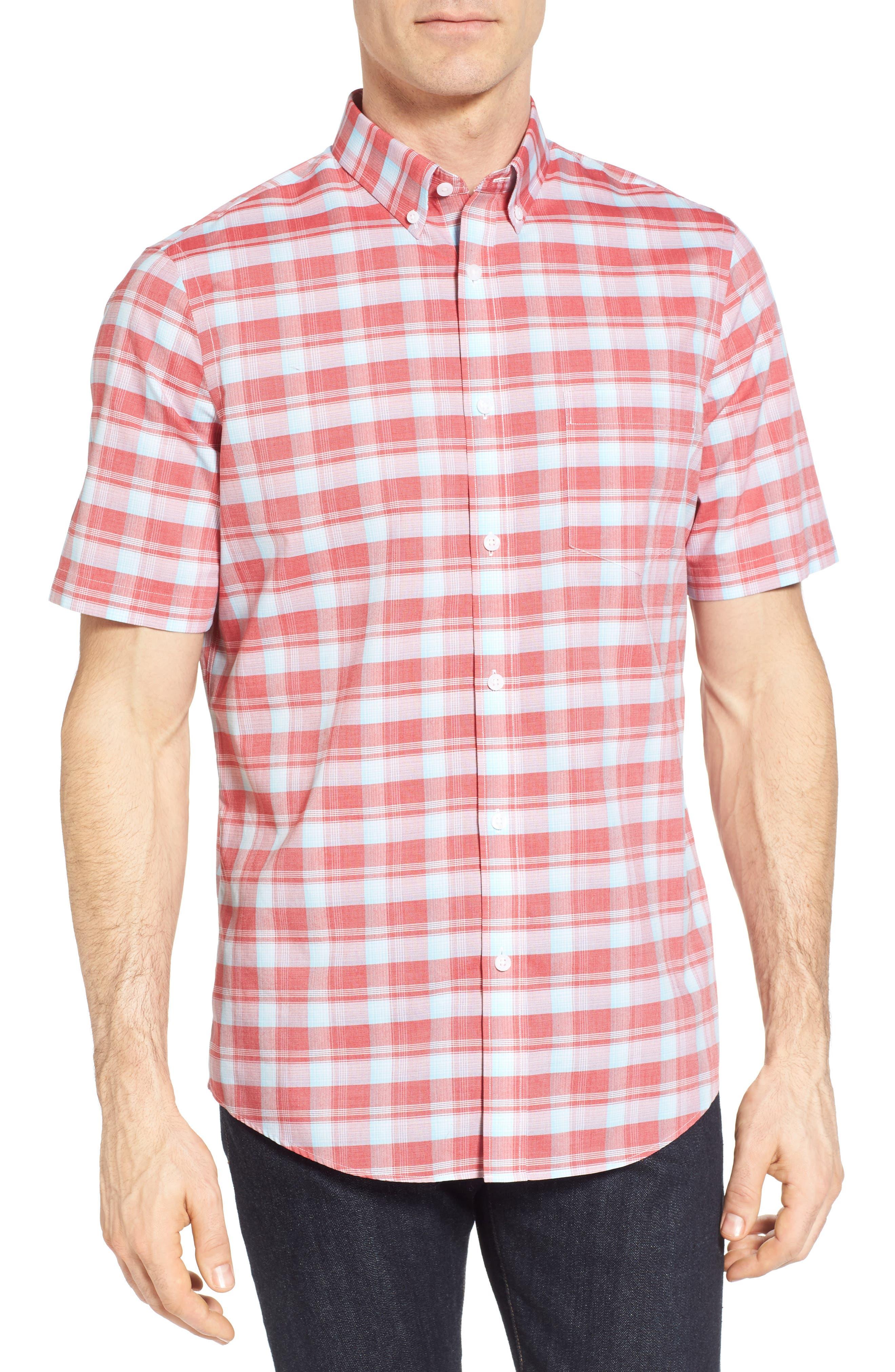 Regular Fit Plaid Sport Shirt,                             Main thumbnail 1, color,                             Red Pompeii Blue Check