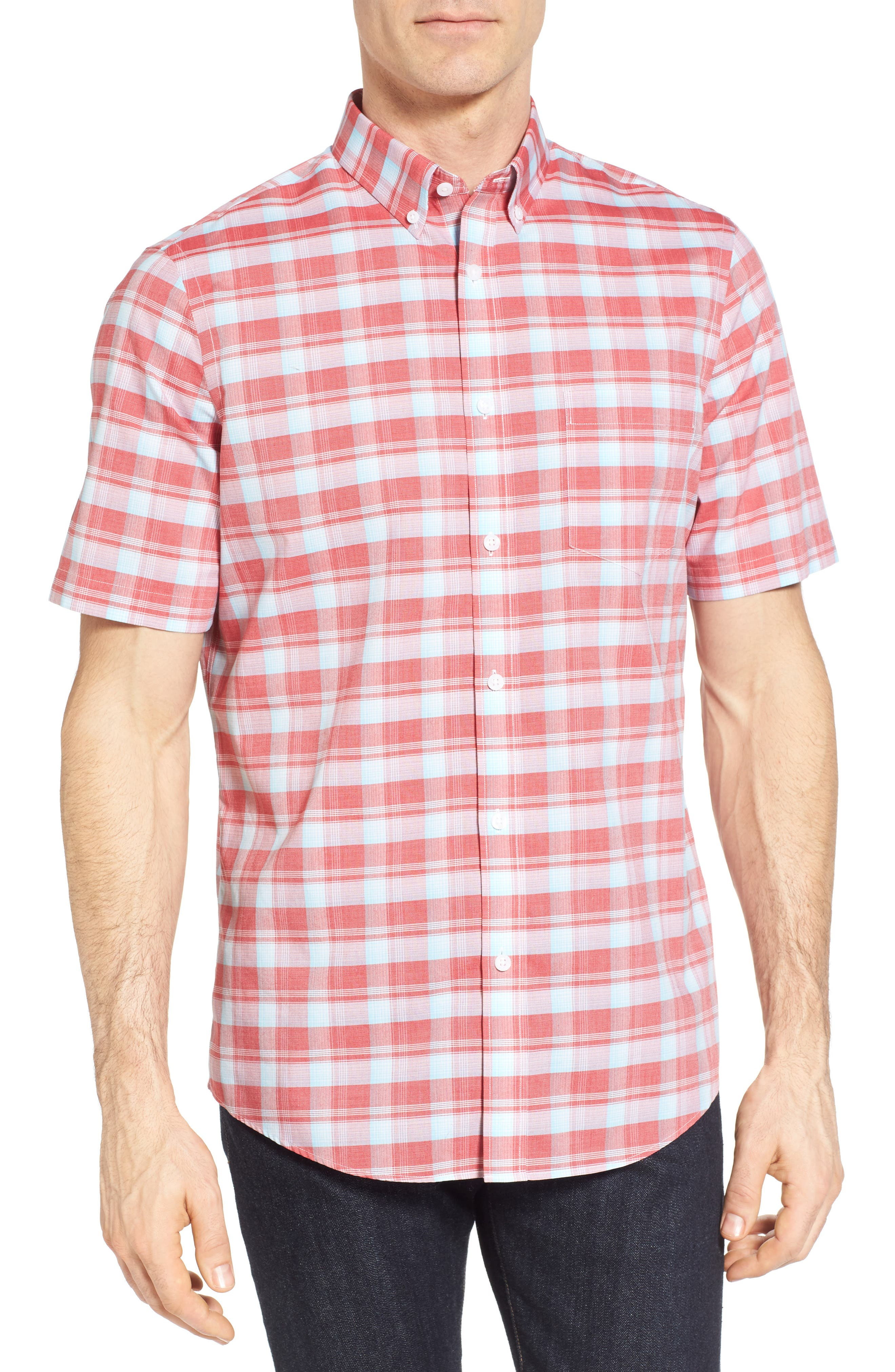 Regular Fit Plaid Sport Shirt,                         Main,                         color, Red Pompeii Blue Check