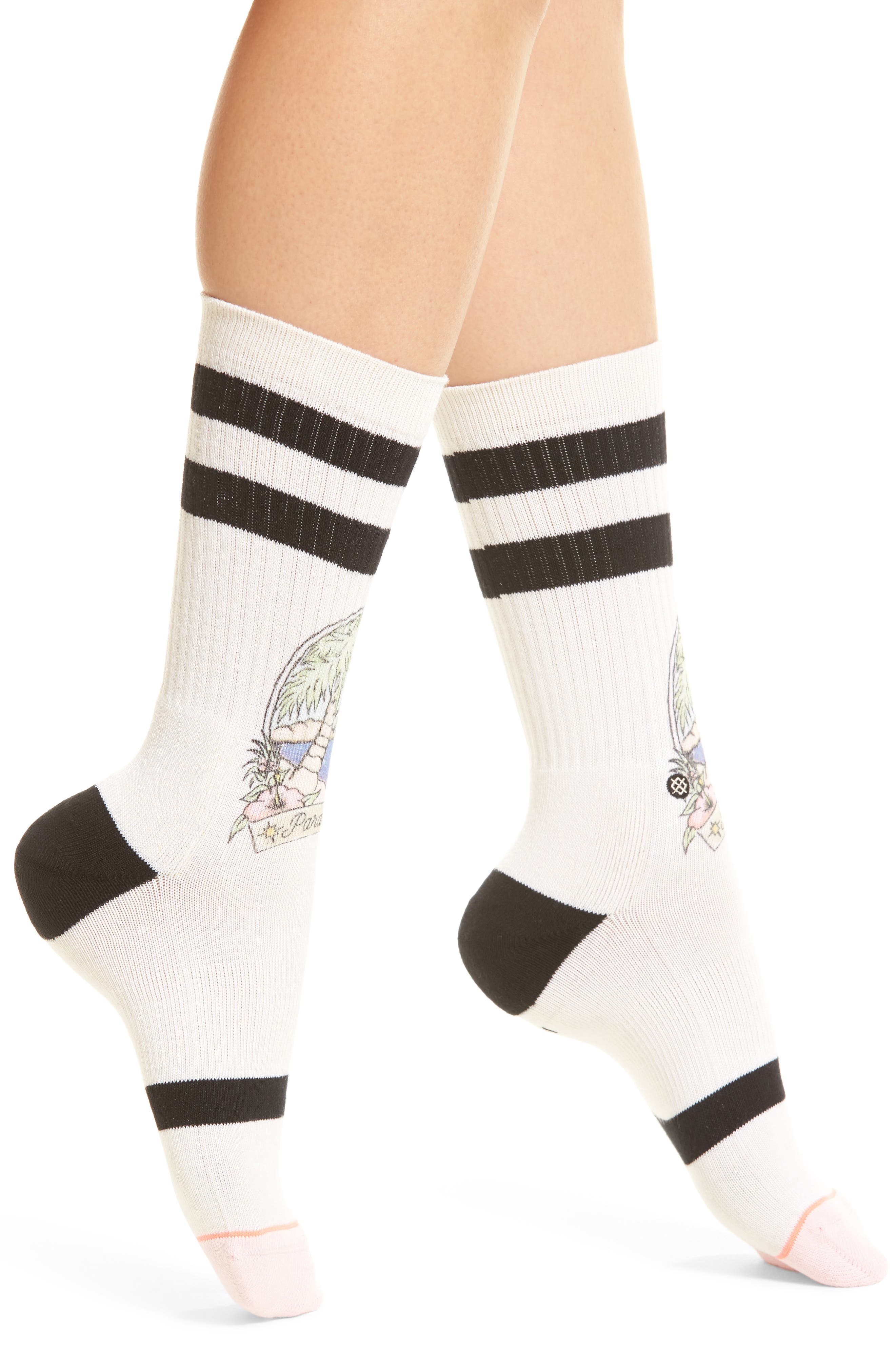 Paradise Pop Crew Socks,                             Main thumbnail 1, color,                             Natural