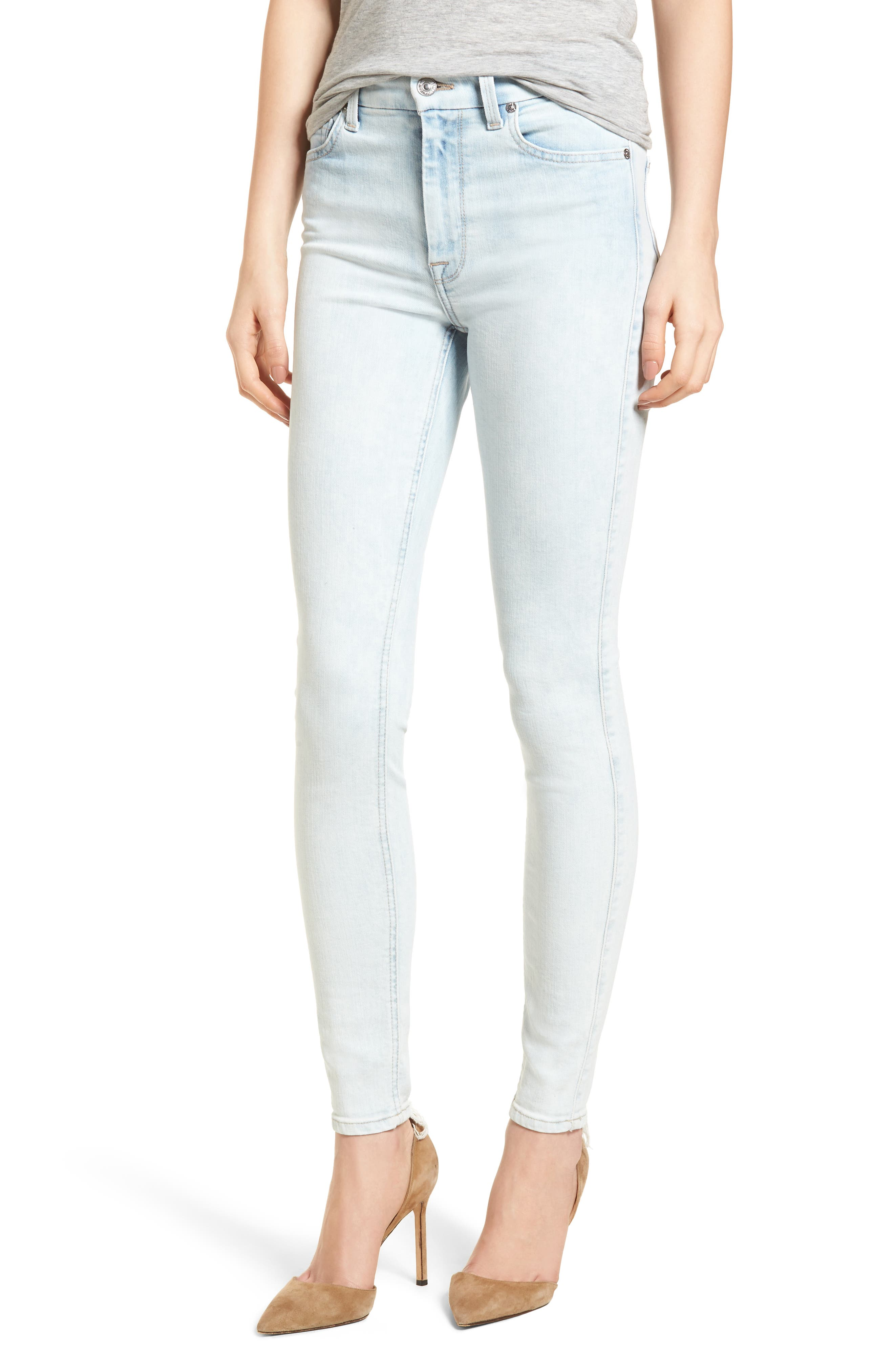 High Waist Ankle Skinny Jeans,                             Main thumbnail 1, color,                             Bleached Out