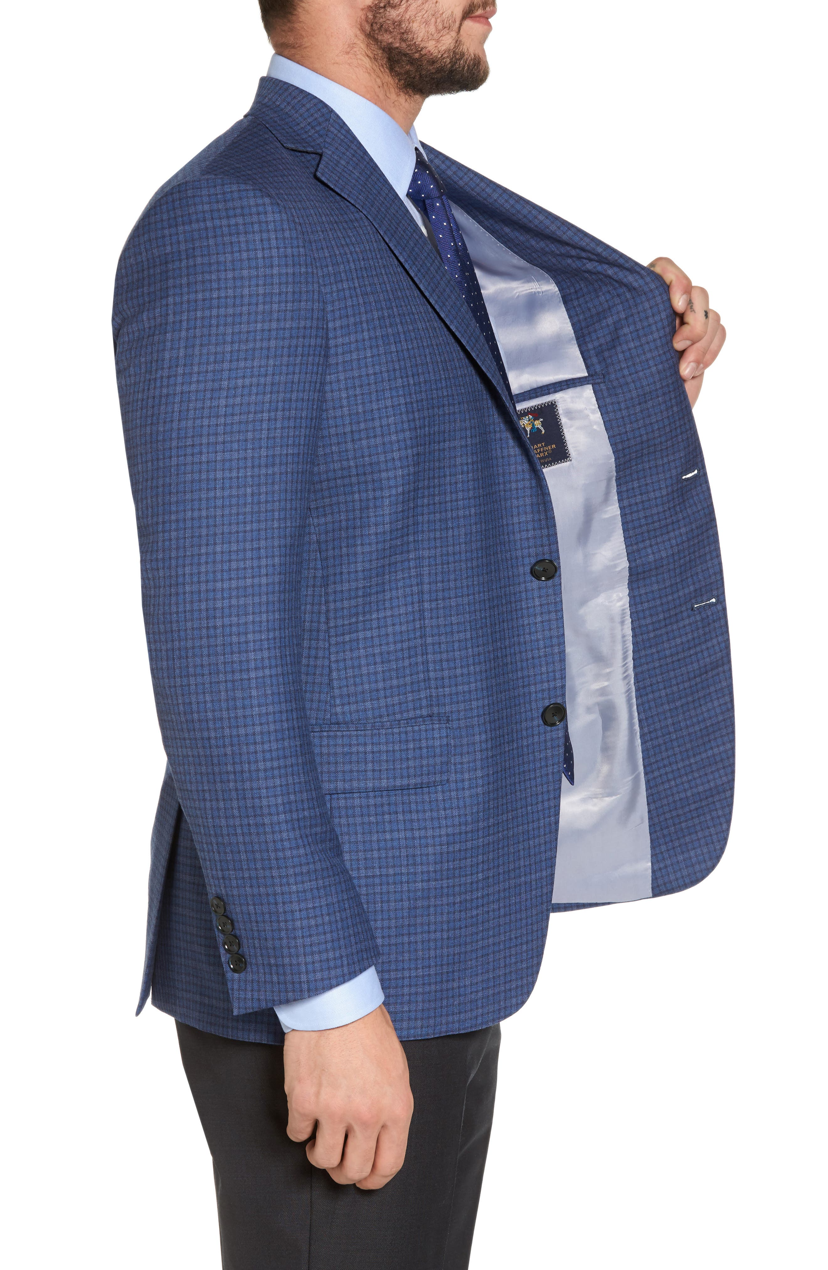 Classic Fit Check Wool Sport Coat,                             Alternate thumbnail 3, color,                             Mid Blue
