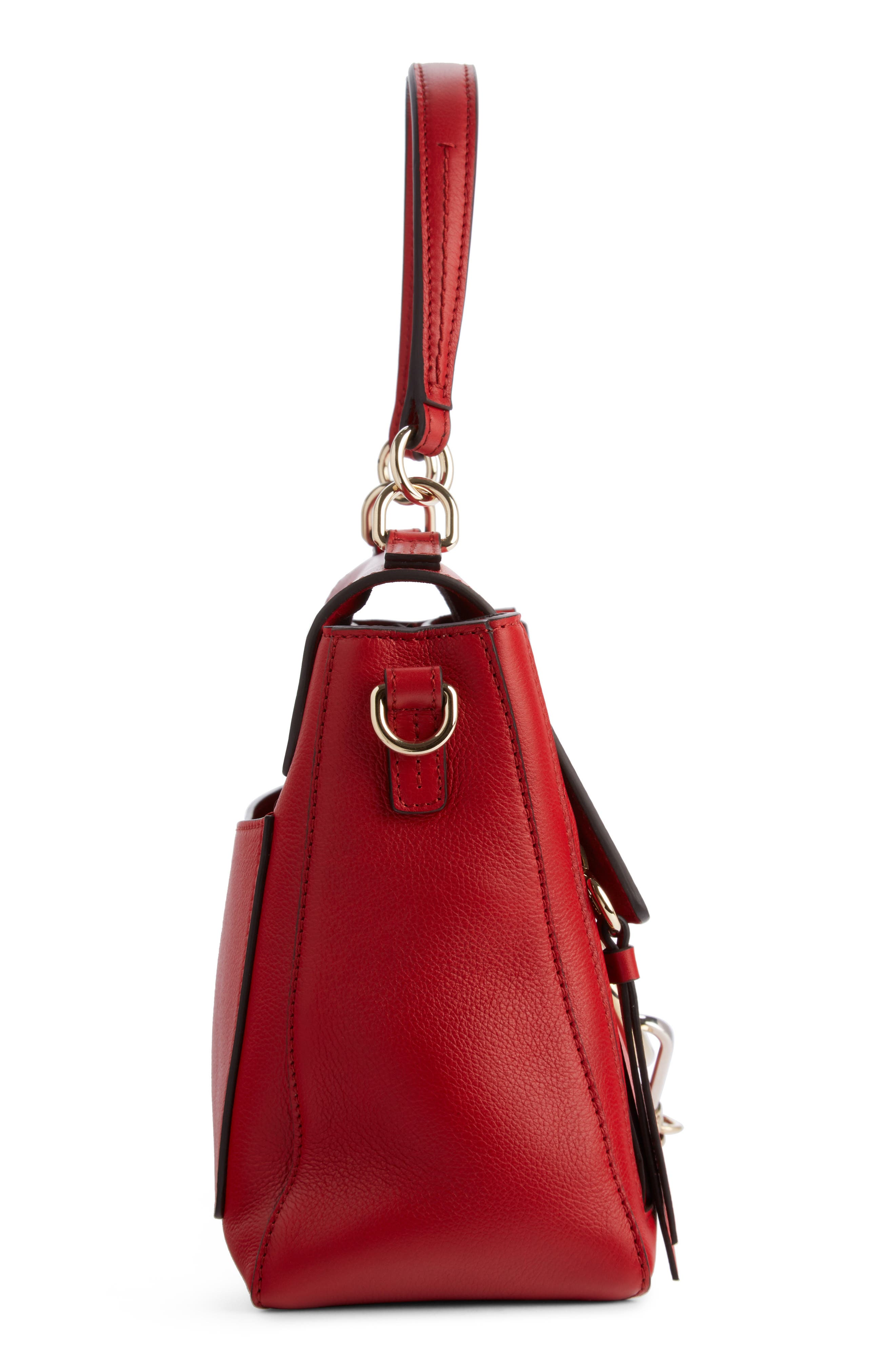 Small Faye Day Leather Shoulder Bag,                             Alternate thumbnail 3, color,                             Dahlia Red