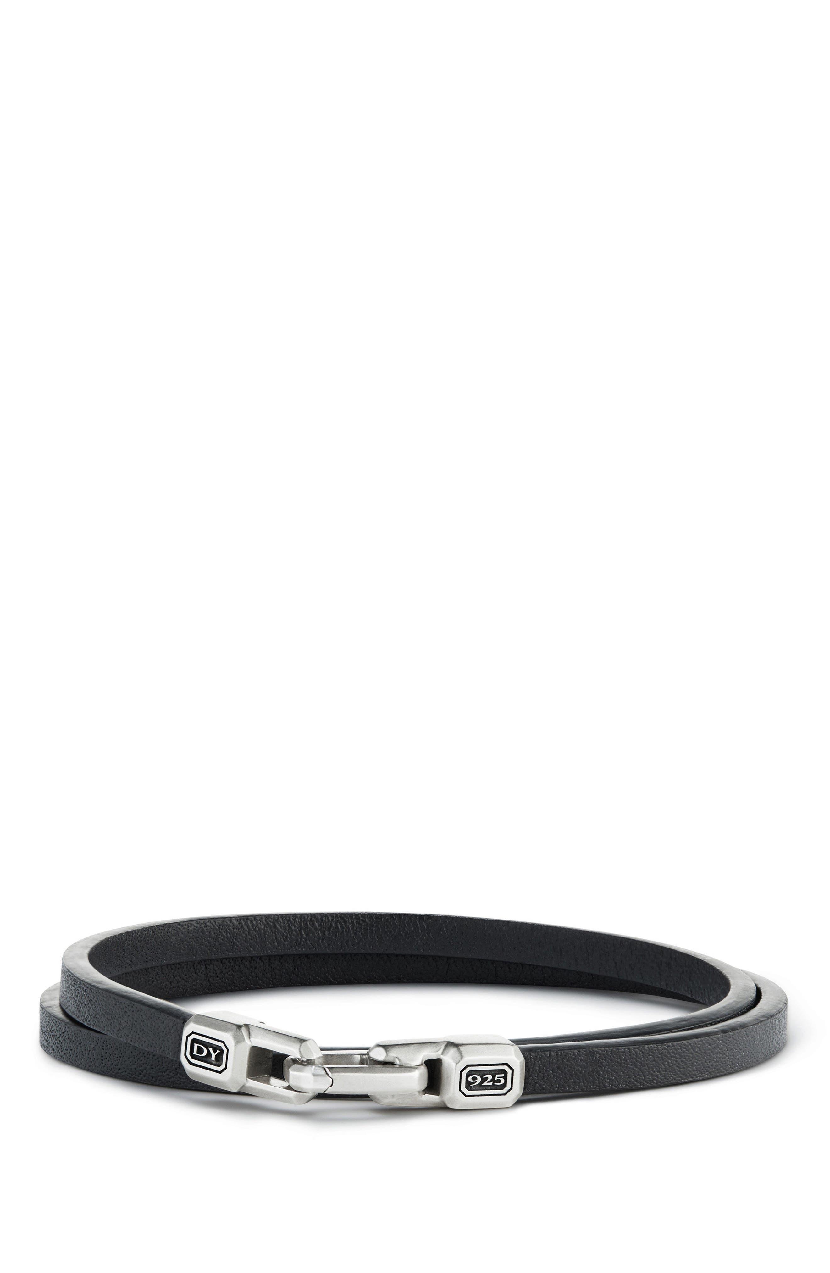 Streamline Double Wrap Leather Bracelet,                             Main thumbnail 1, color,                             Silver