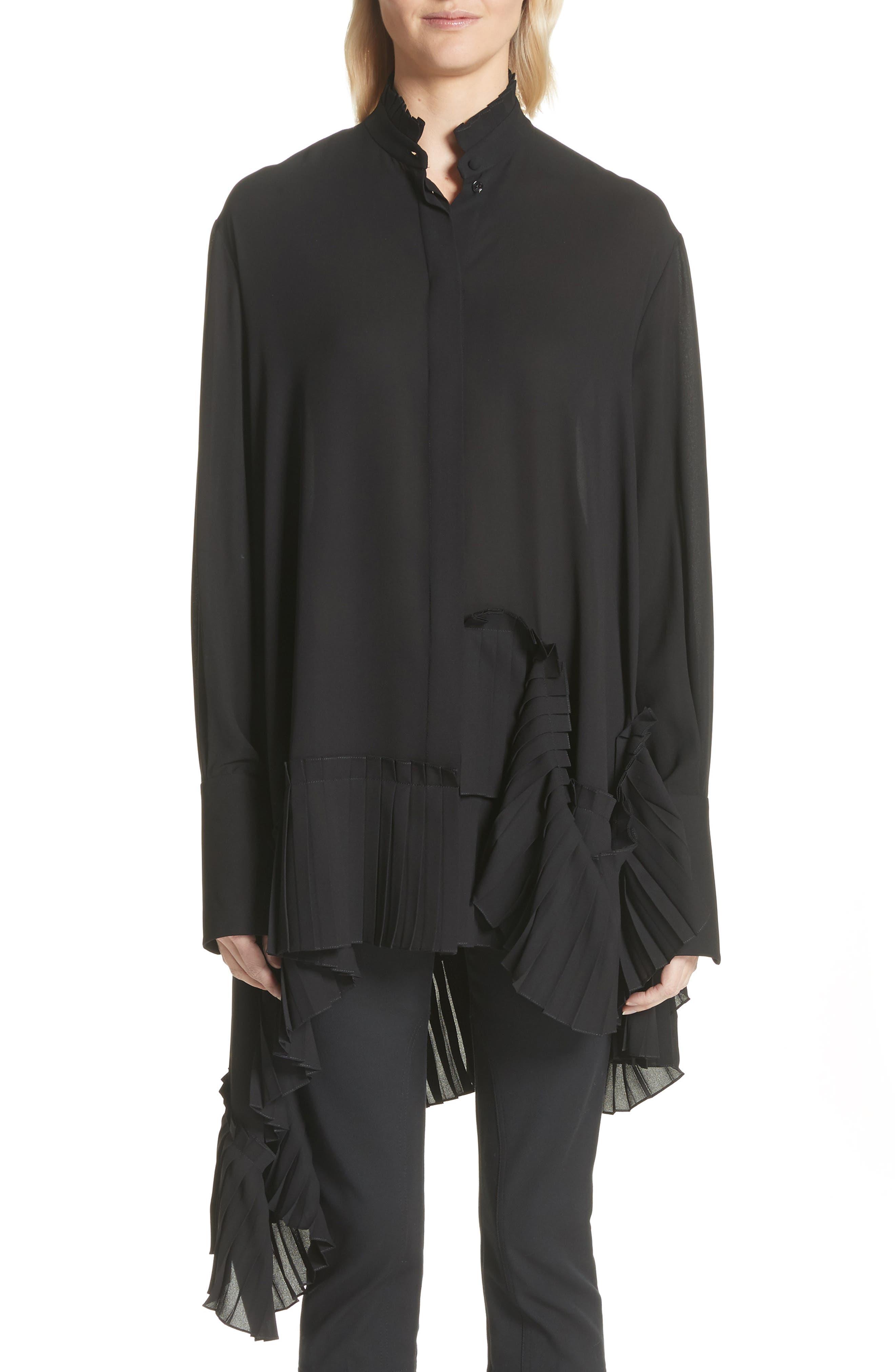 Alexander McQueen Asymmetrical Hem Silk Georgette Shirt