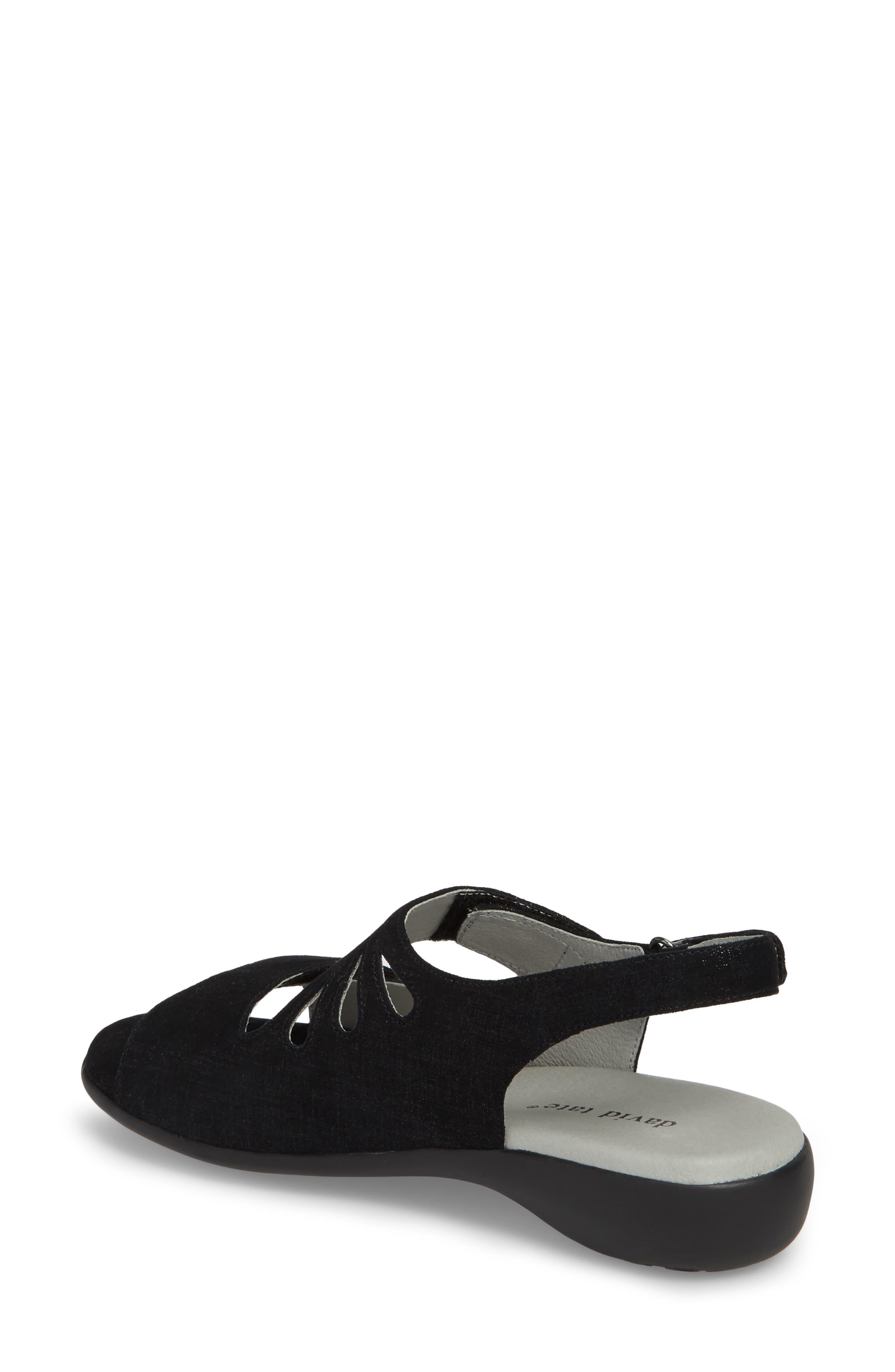 Lilly Slingback Sandal,                             Alternate thumbnail 2, color,                             Black Leather