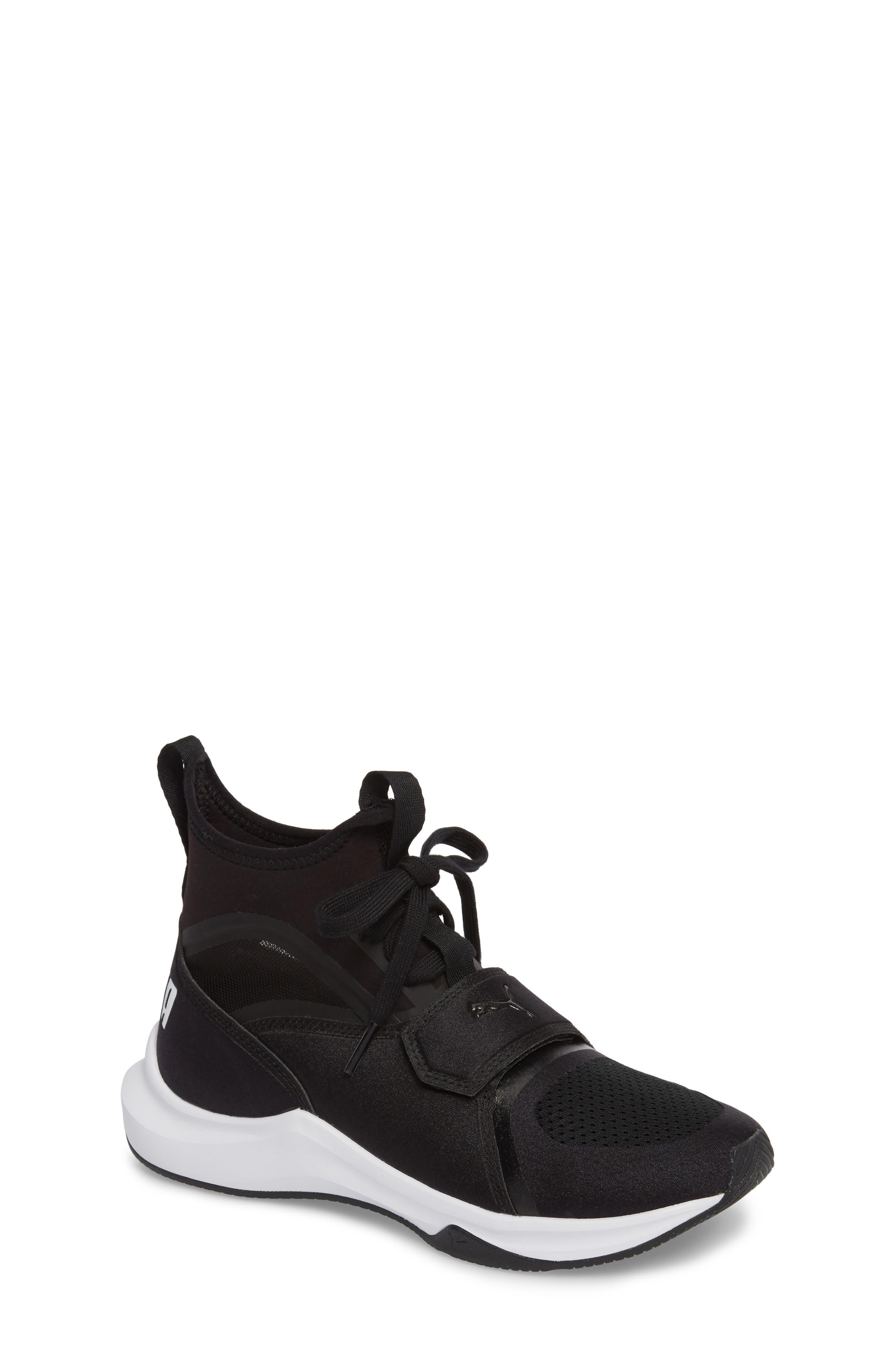 Phenom Jr High Top Sneaker,                         Main,                         color, Puma Black/ Puma White