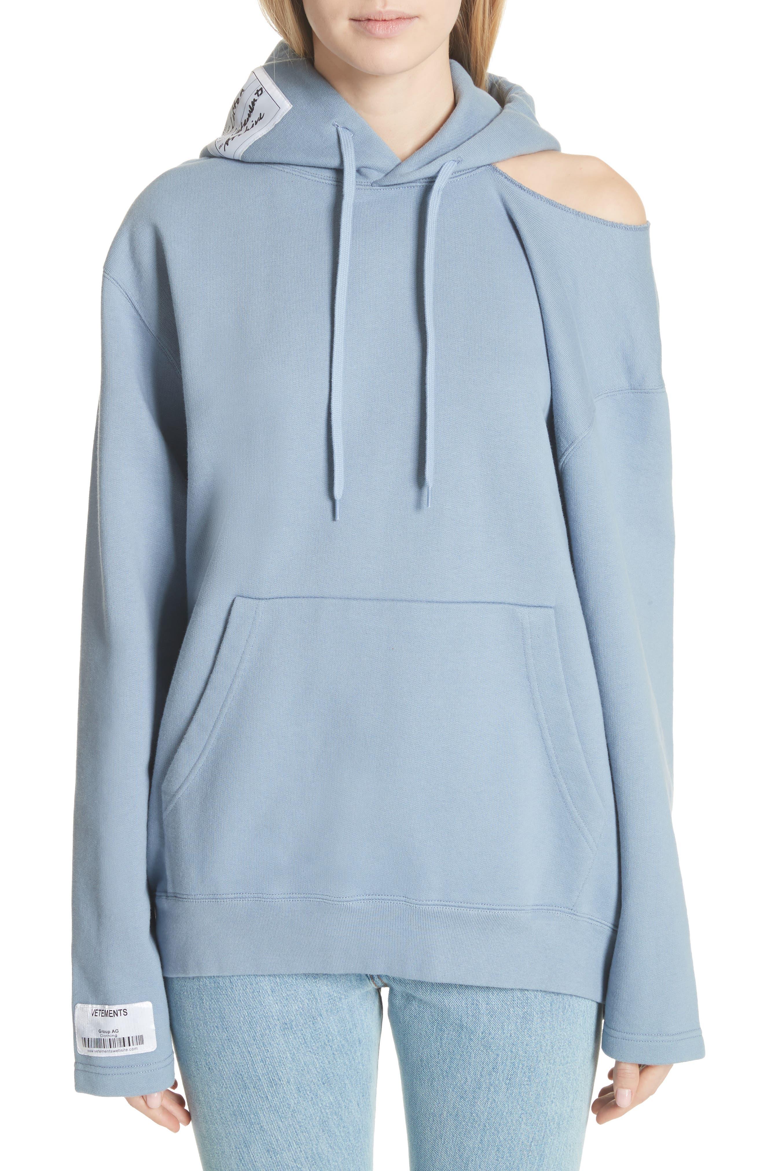 Cold Shoulder Hoodie,                         Main,                         color, Blue