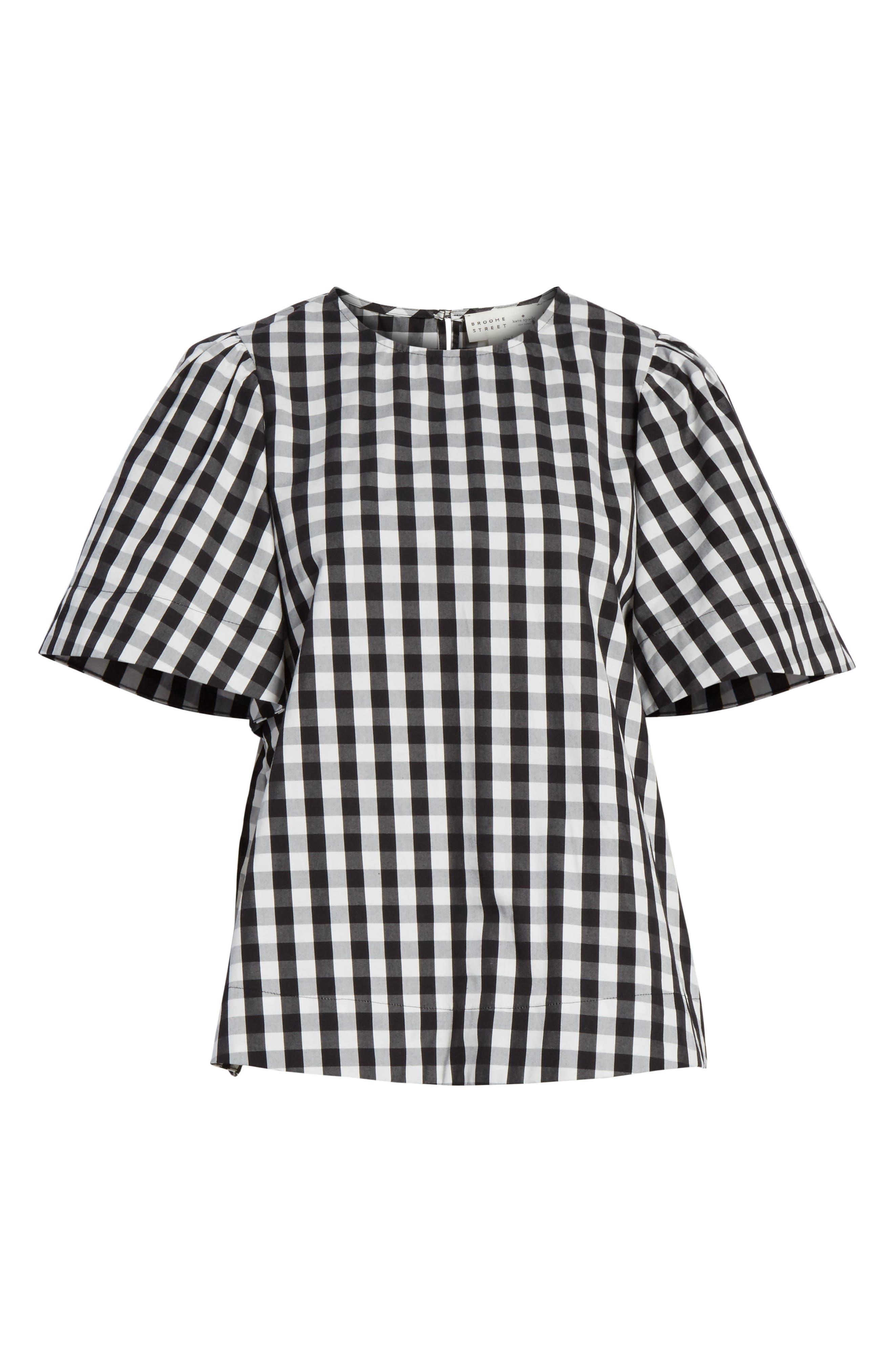 gingham flutter sleeve top,                             Alternate thumbnail 6, color,                             Black
