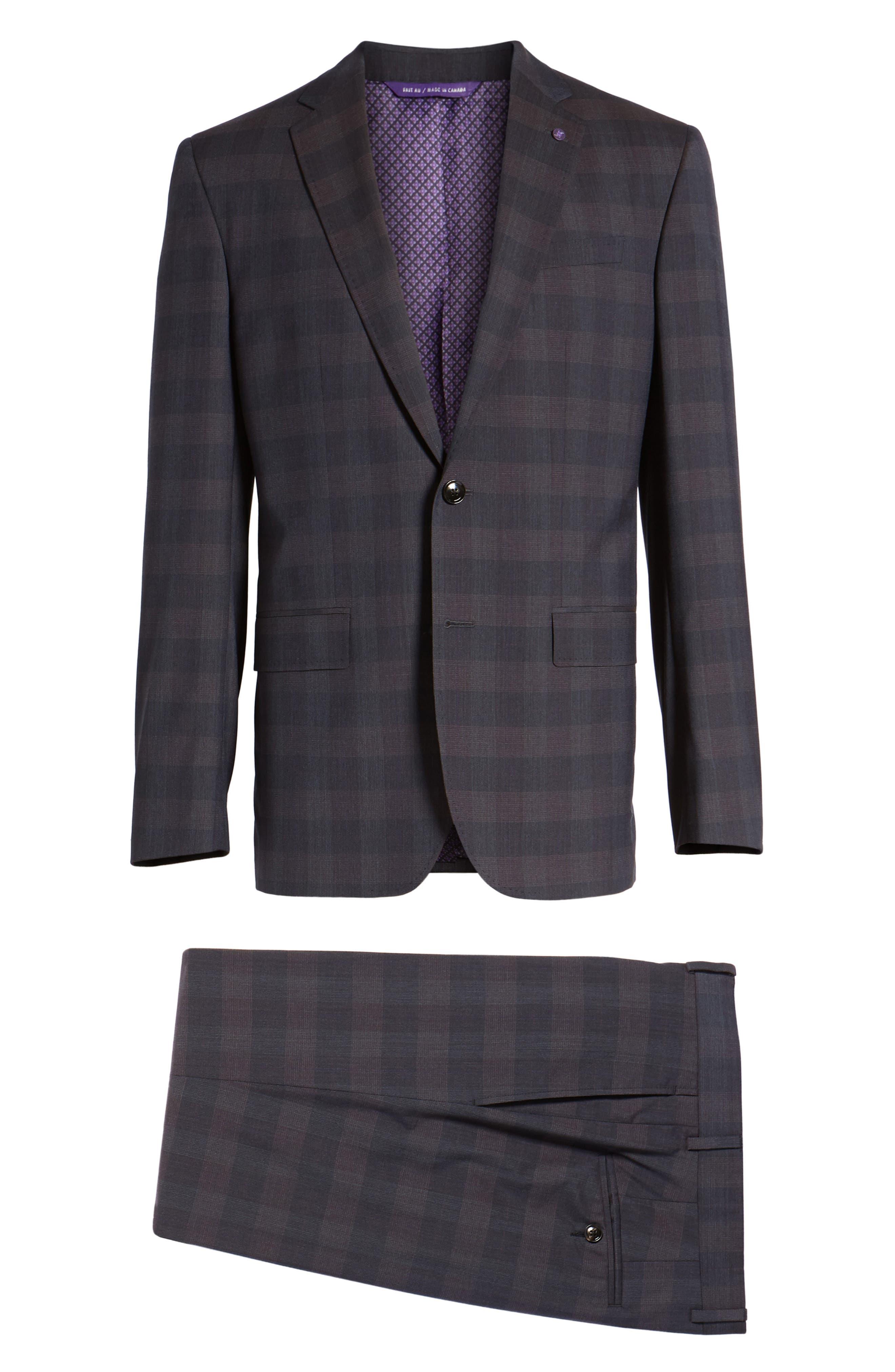 Jay Trim Fit Plaid Wool Suit,                             Alternate thumbnail 8, color,                             Black