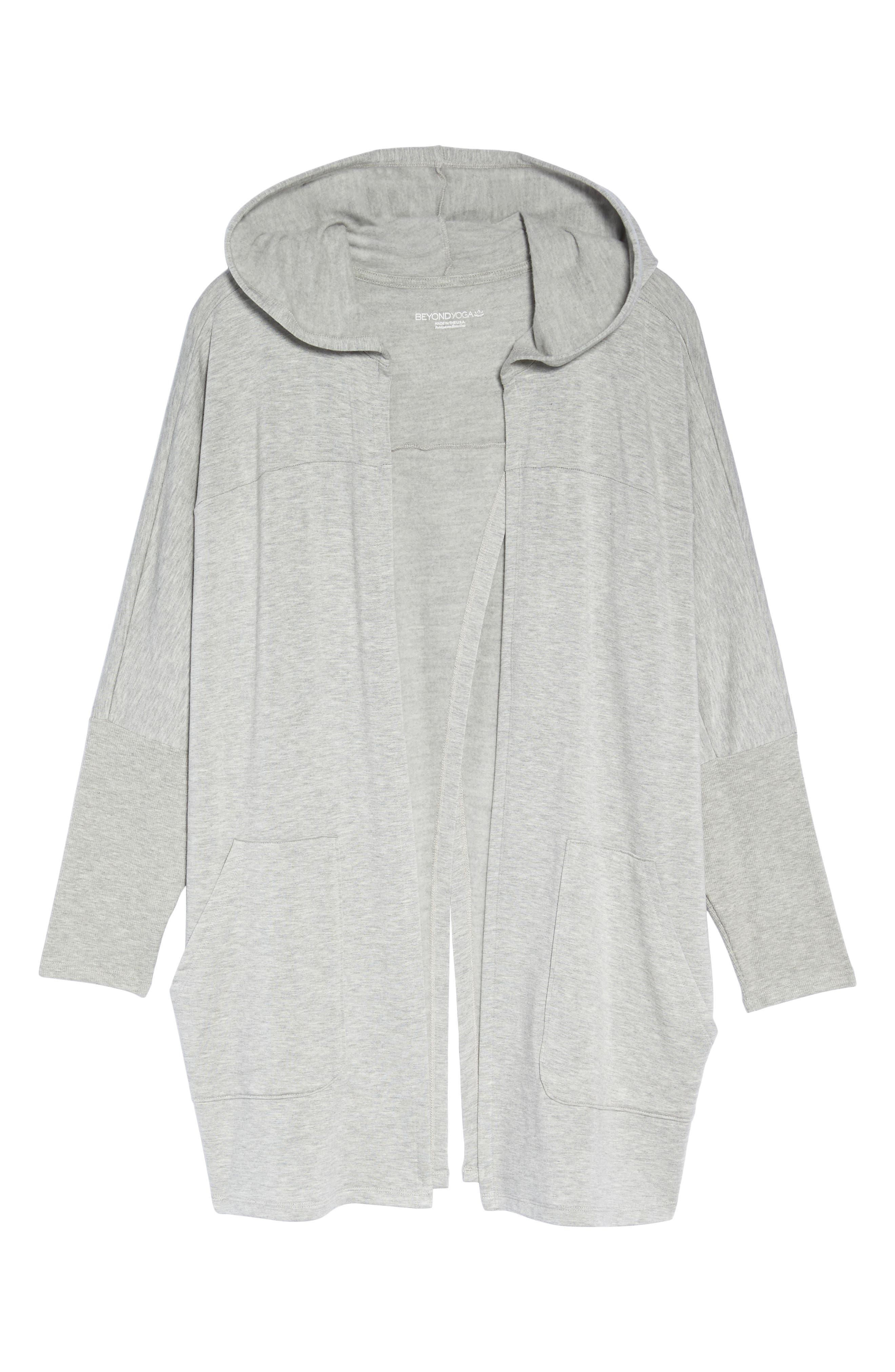 Love & Fleece Split-Back Hooded Cardigan,                         Main,                         color, Light Heather Grey