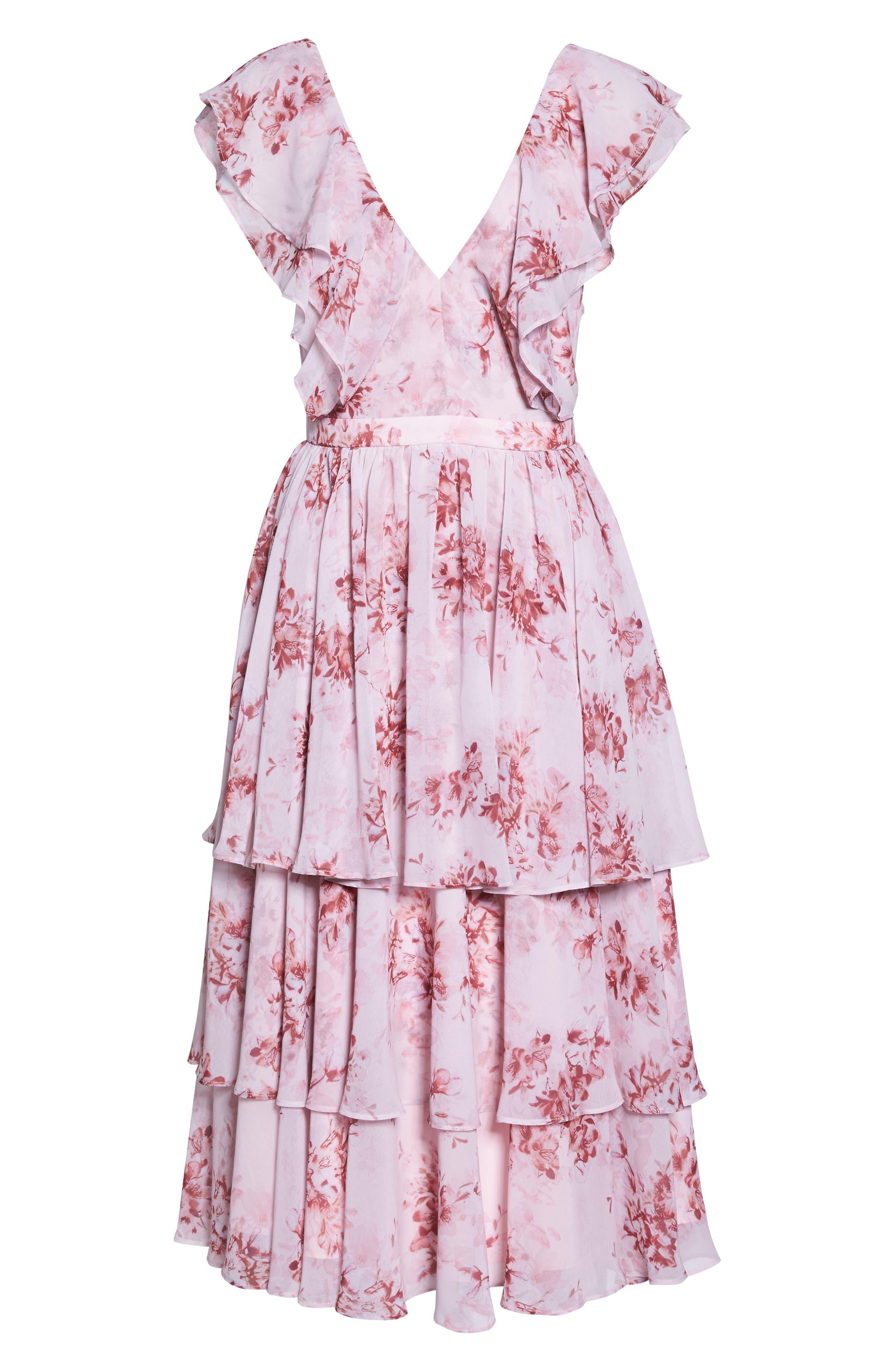Edy Floral Georgette Dress,                             Alternate thumbnail 6, color,                             Delaney Print