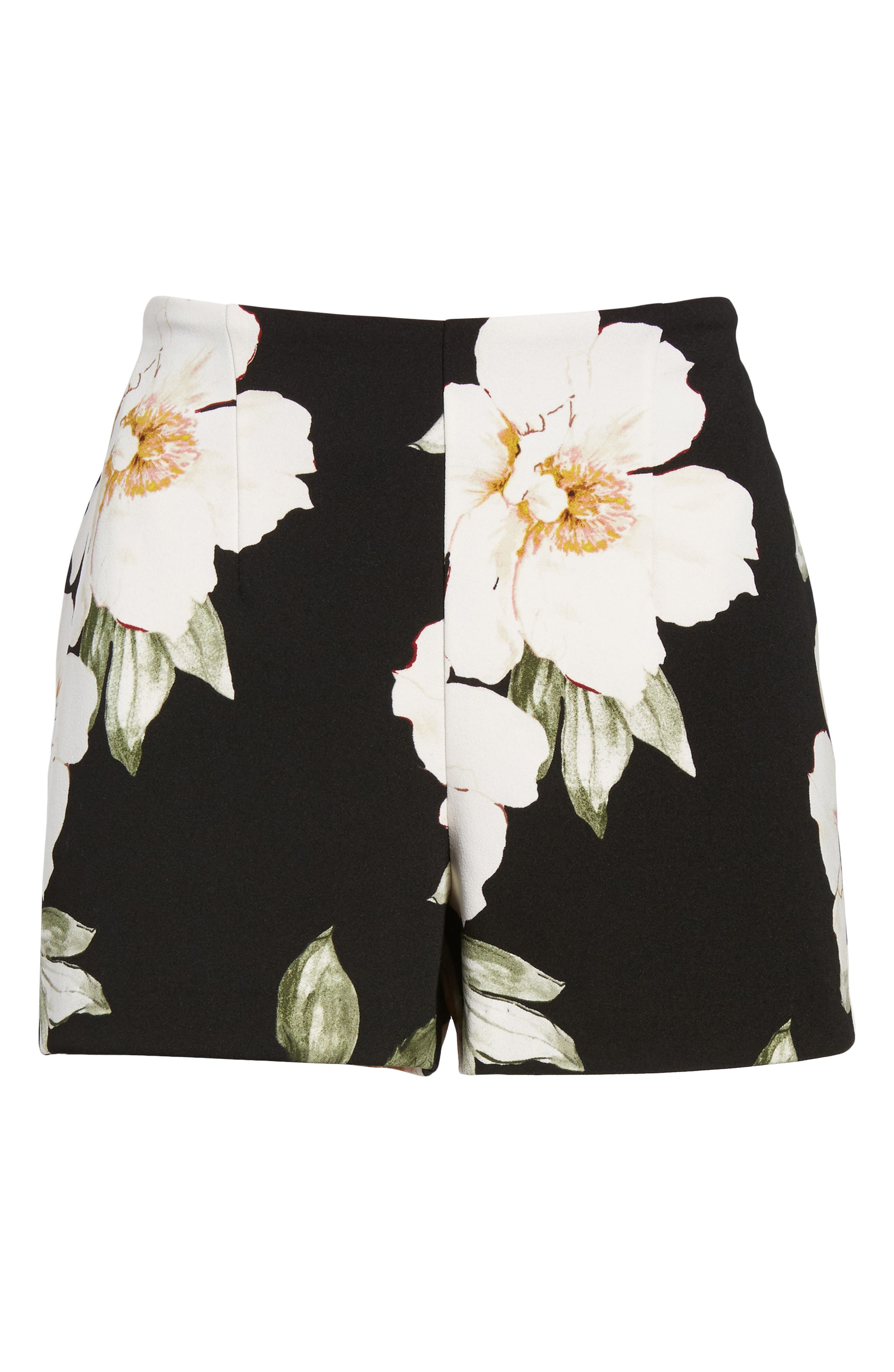 High Waist Shorts,                             Alternate thumbnail 6, color,                             Black Exploded Floral