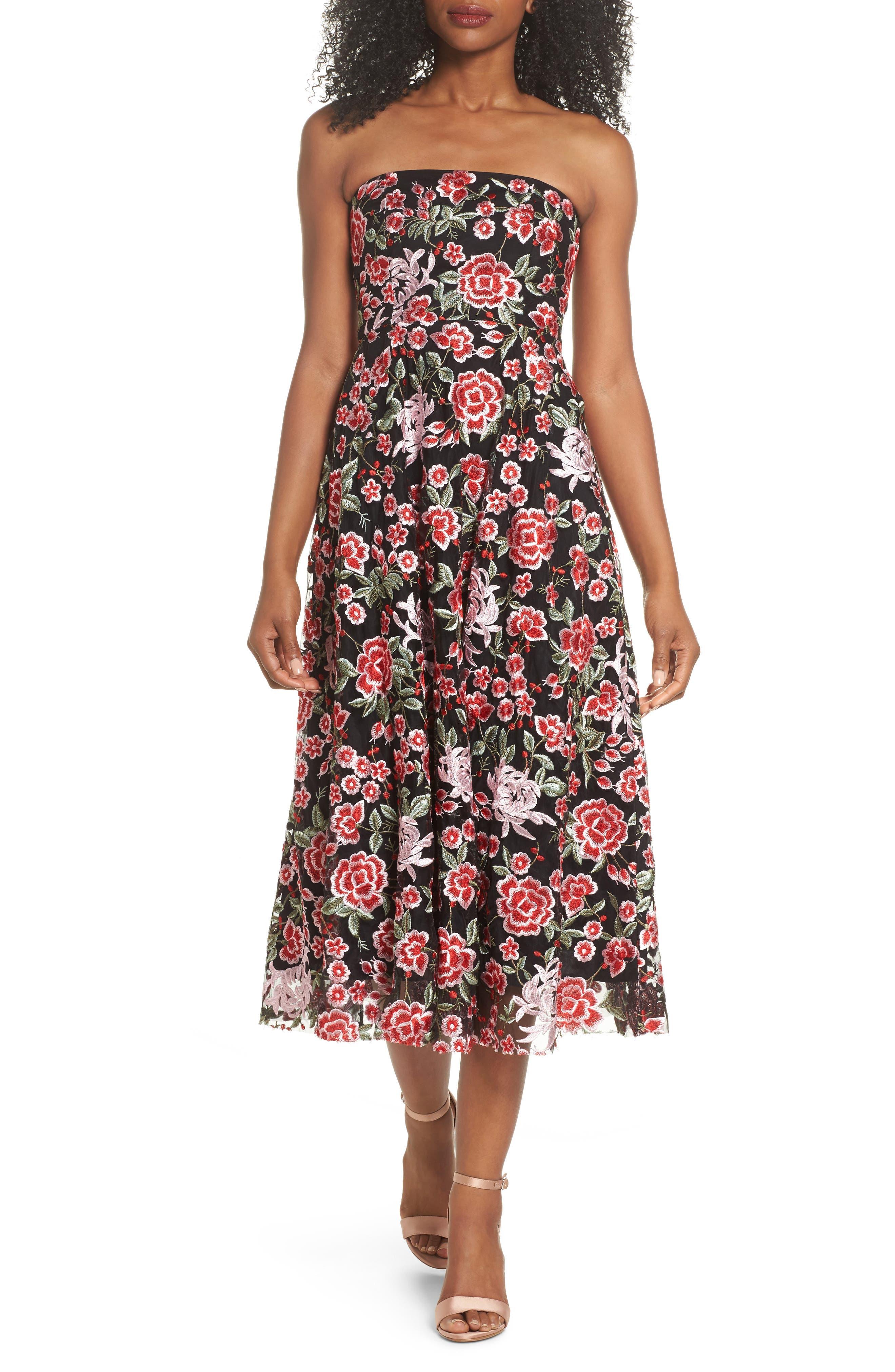 Cosette Embroidered Strapless Dress,                         Main,                         color, Black Multi