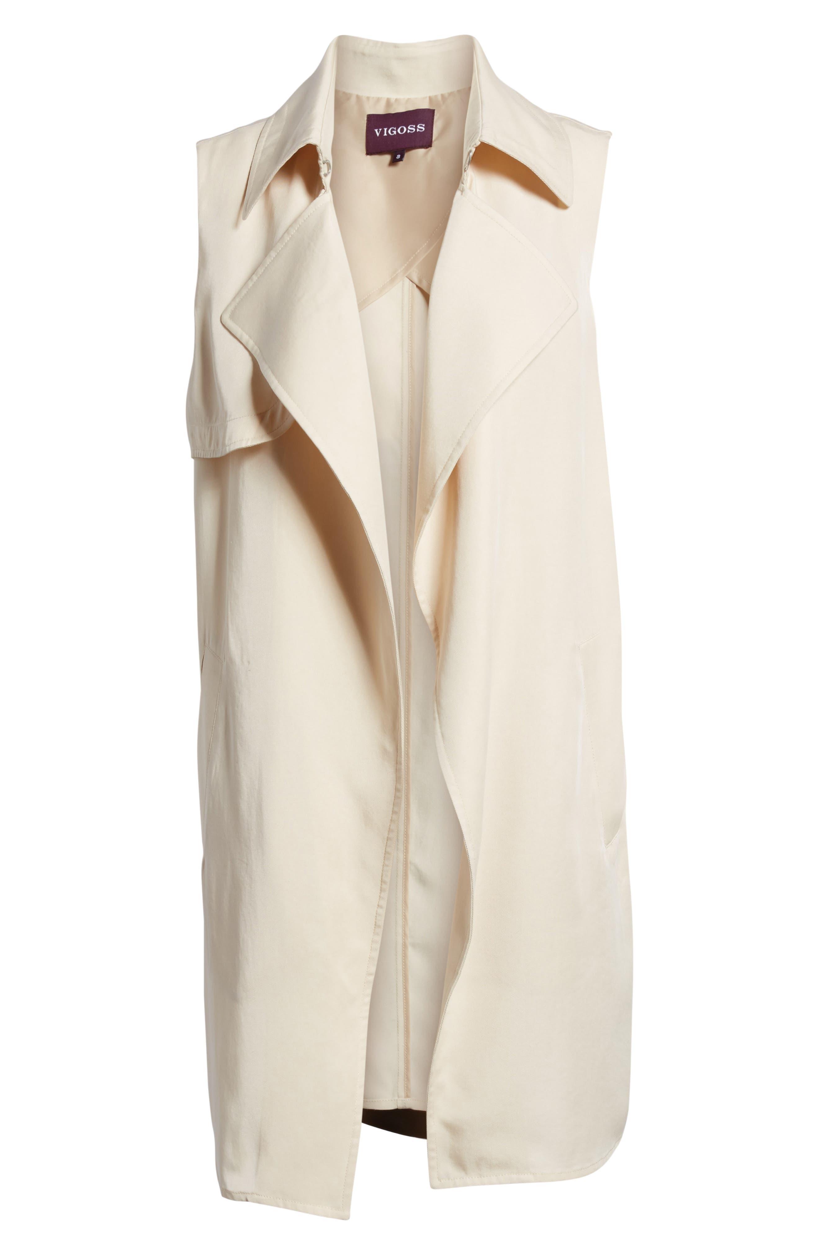 Zoe Longline Trench Vest,                             Alternate thumbnail 6, color,                             Beige