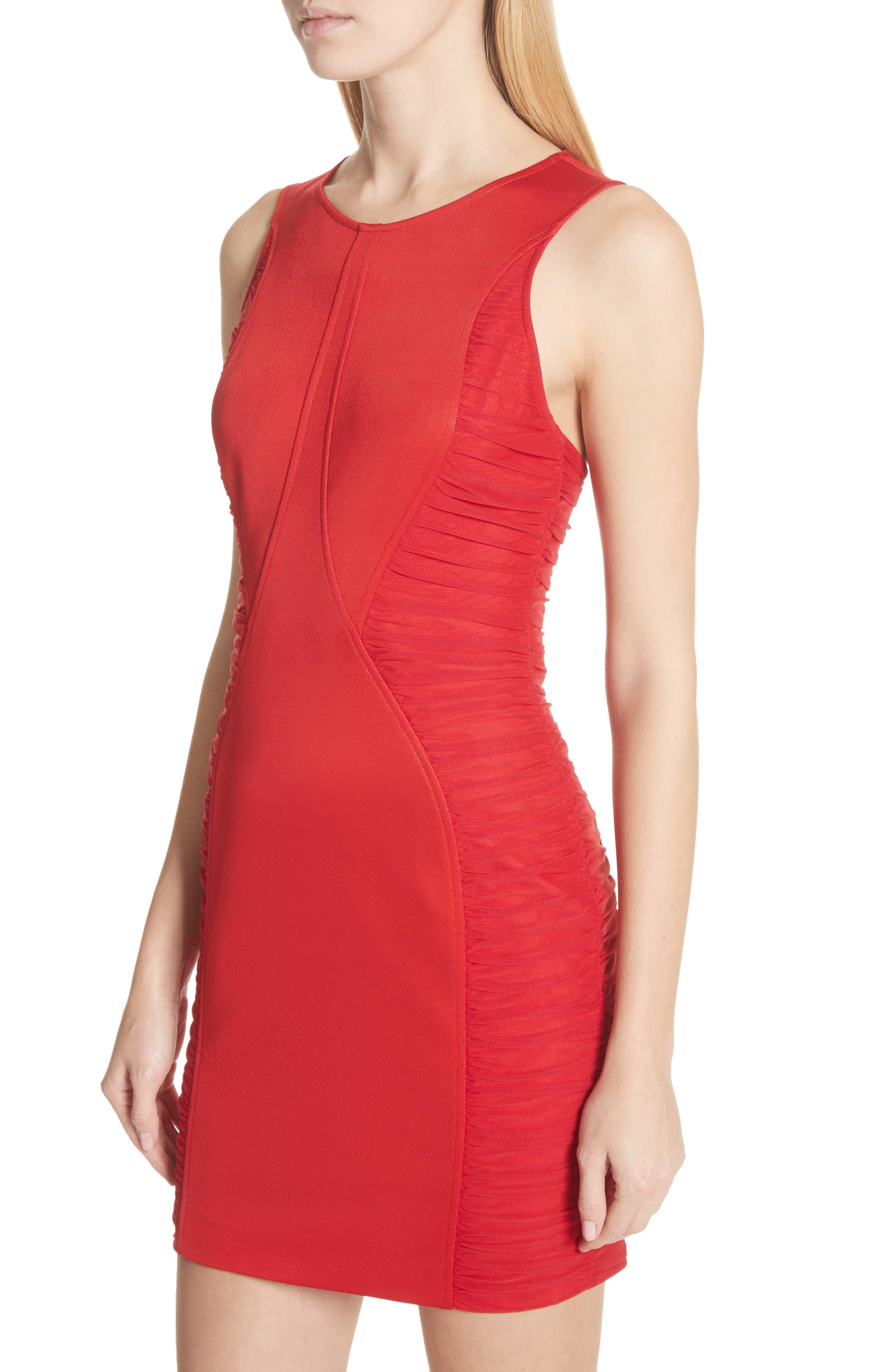 Ruched Piqué Sheath Dress,                             Alternate thumbnail 4, color,                             Red