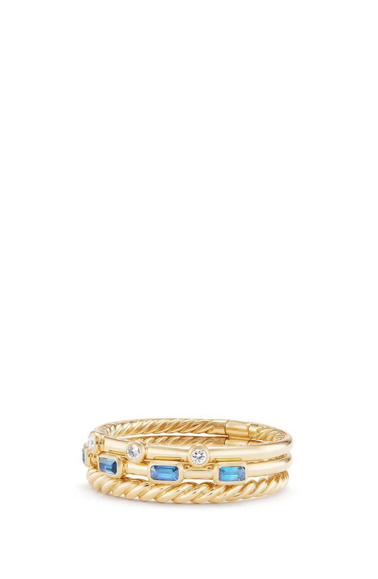 Novella 3-Row Ring with Diamonds,                         Main,                         color, Gold/ Diamond/ Blue Sapphire