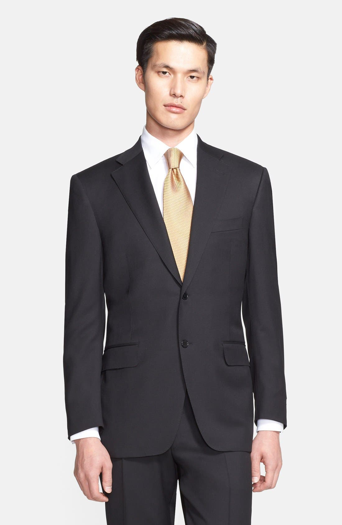 Classic Fit Solid Wool Suit,                             Alternate thumbnail 3, color,                             Black