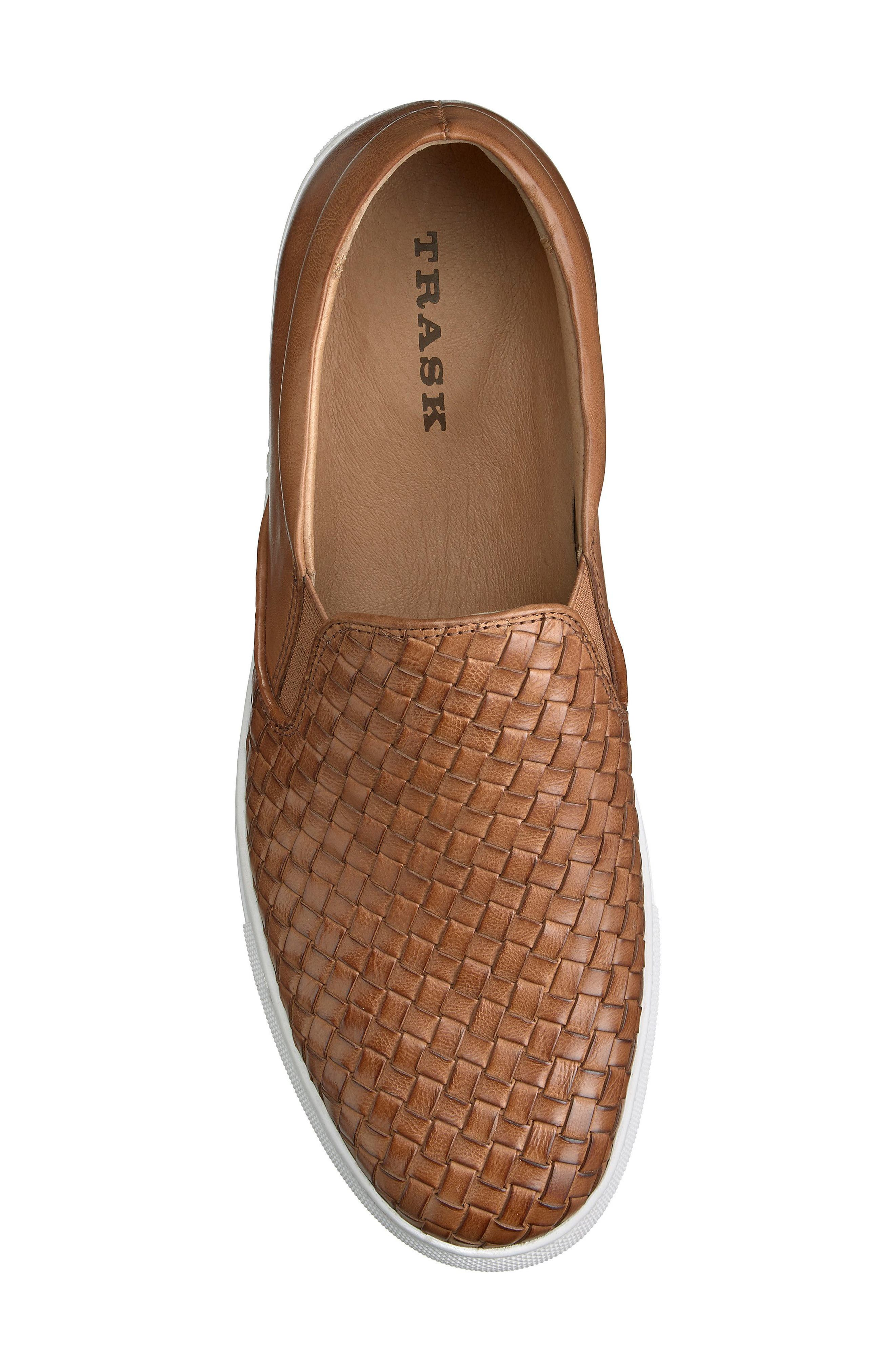 Alex Woven Slip-On Sneaker,                             Alternate thumbnail 5, color,                             Tan Leather