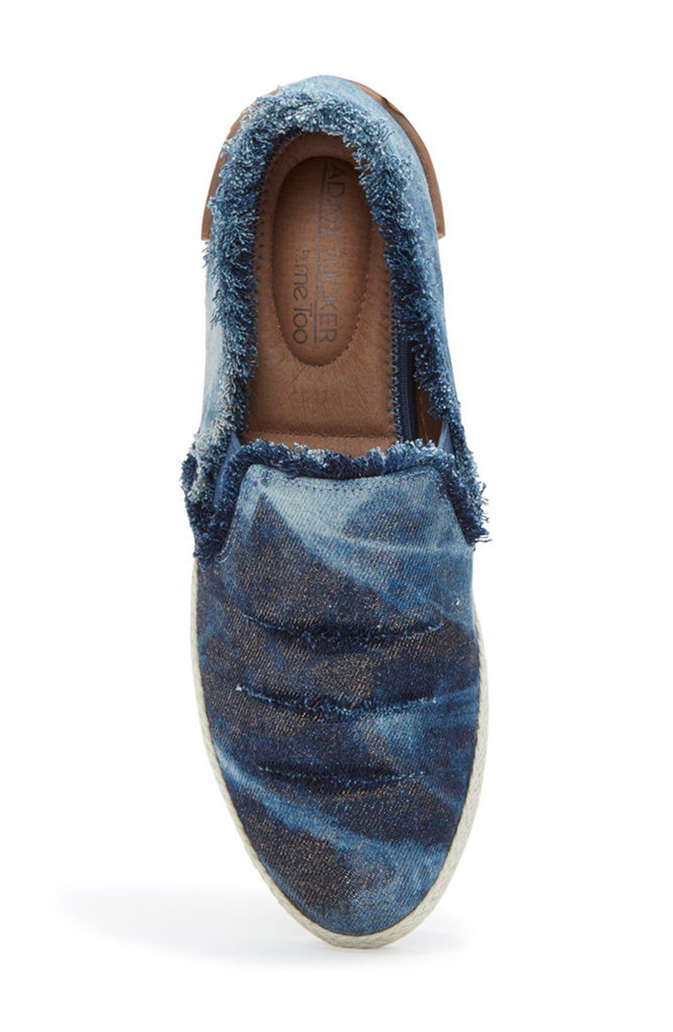 Adam Tucker Marin Slip-On Sneaker,                             Alternate thumbnail 5, color,                             Blue Champagne Denim Fabric