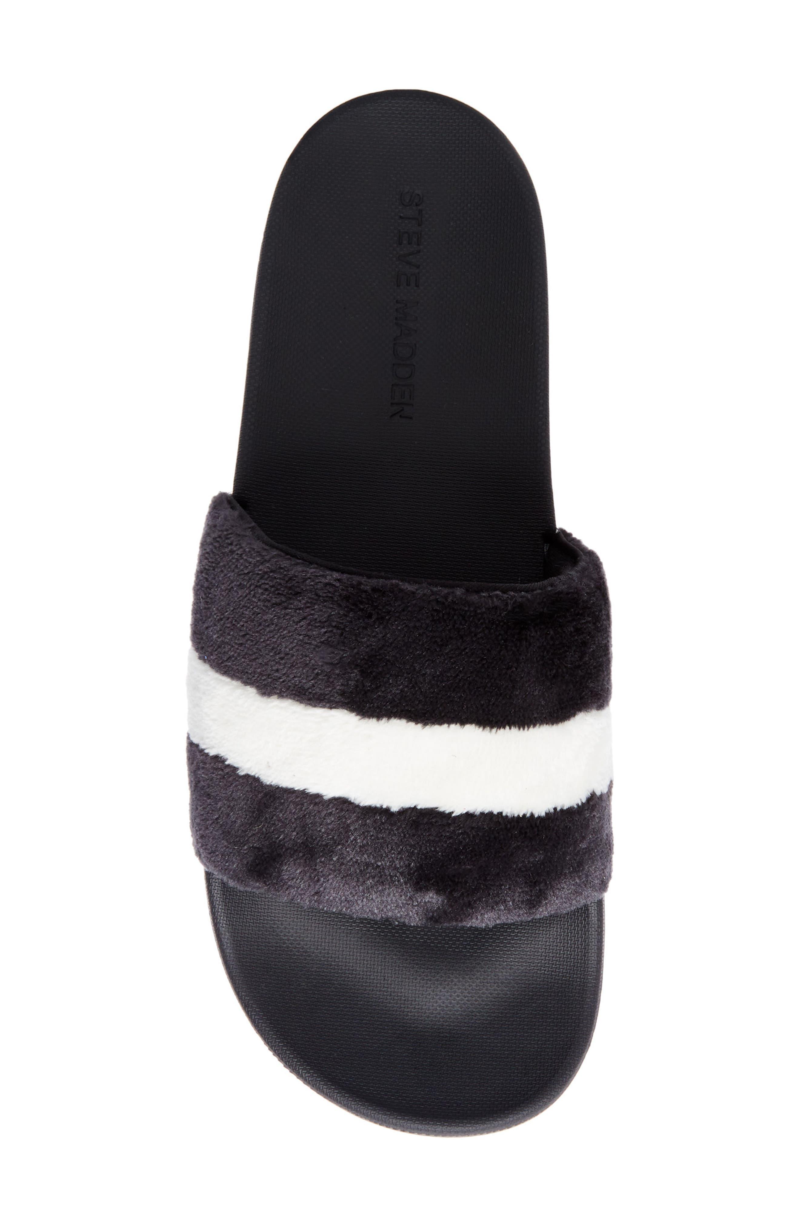 Resport Plush Slide Sandal,                             Alternate thumbnail 5, color,                             Black/ White