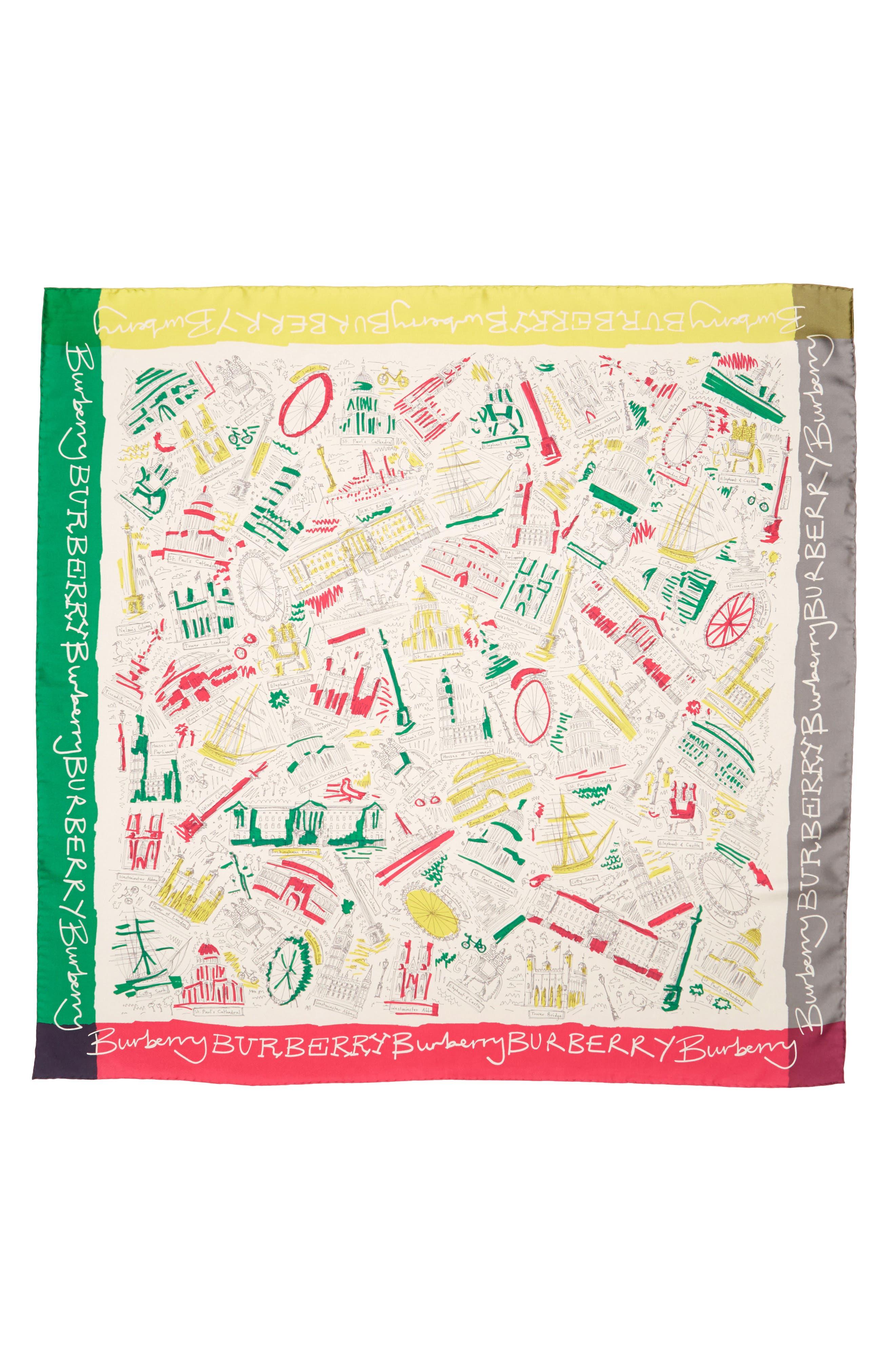 London Icon Silk Square Scarf,                         Main,                         color, Bright Peony
