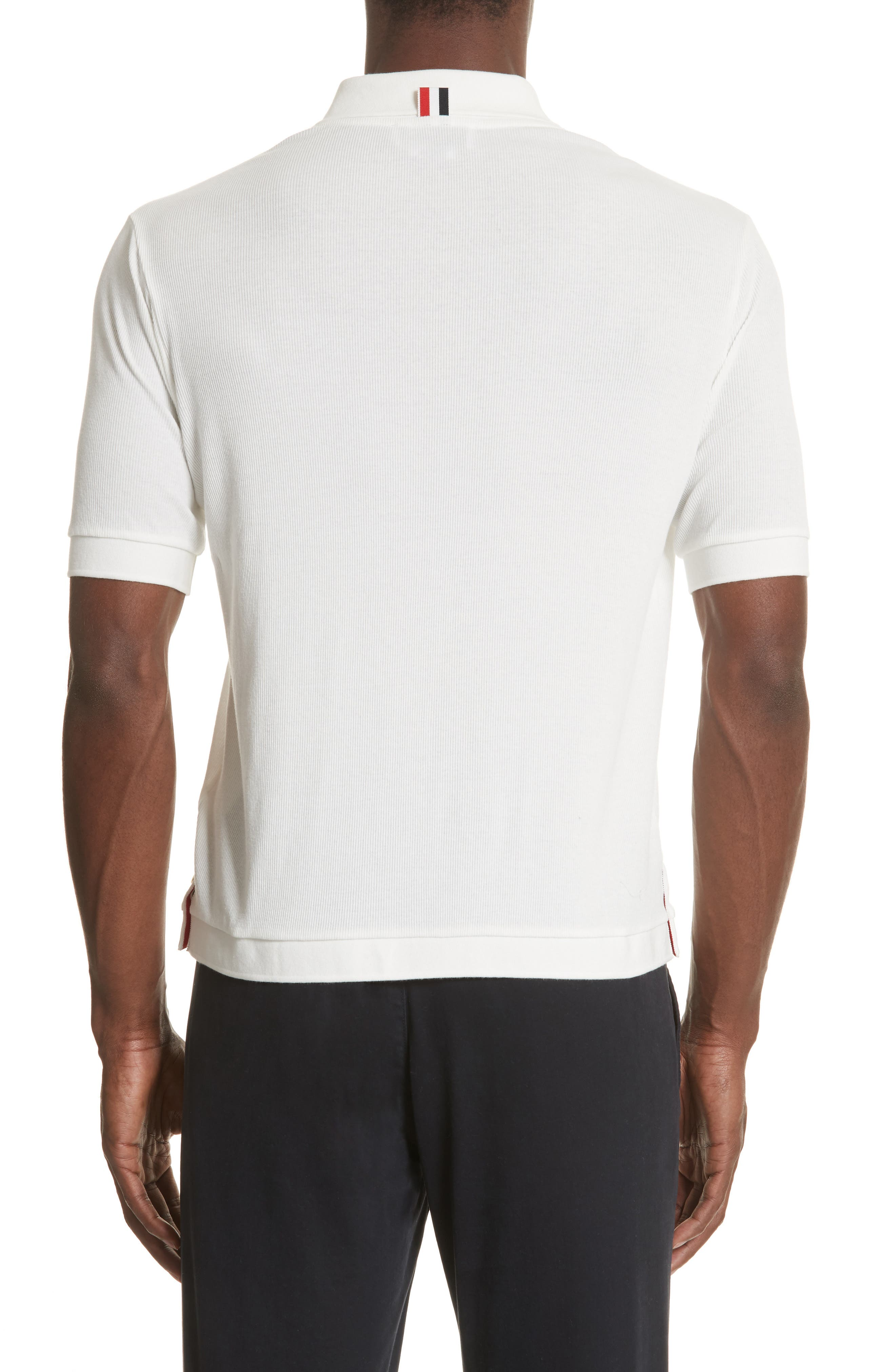 Ribbed Polo Shirt,                             Alternate thumbnail 2, color,                             White