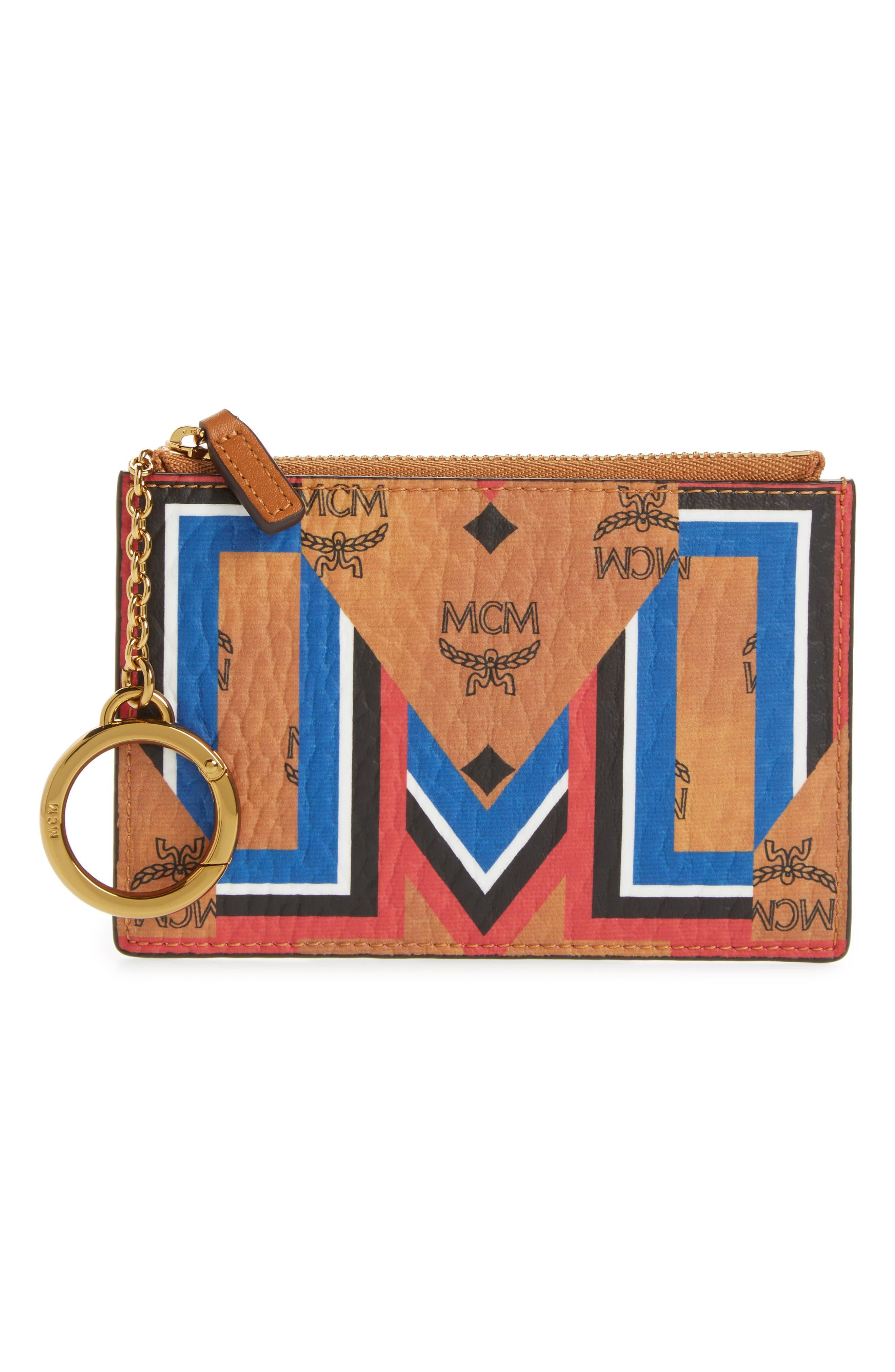 MCM Stark Gunta Visetos Faux Leather Key Chain Pouch