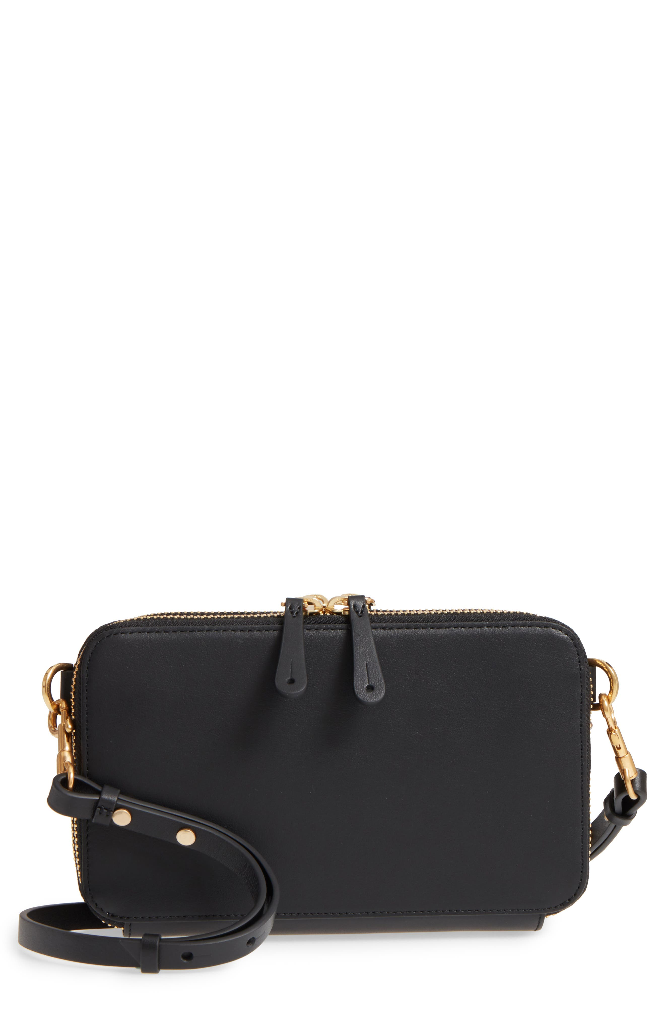 Stack Leather Crossbody Wallet,                         Main,                         color, Black