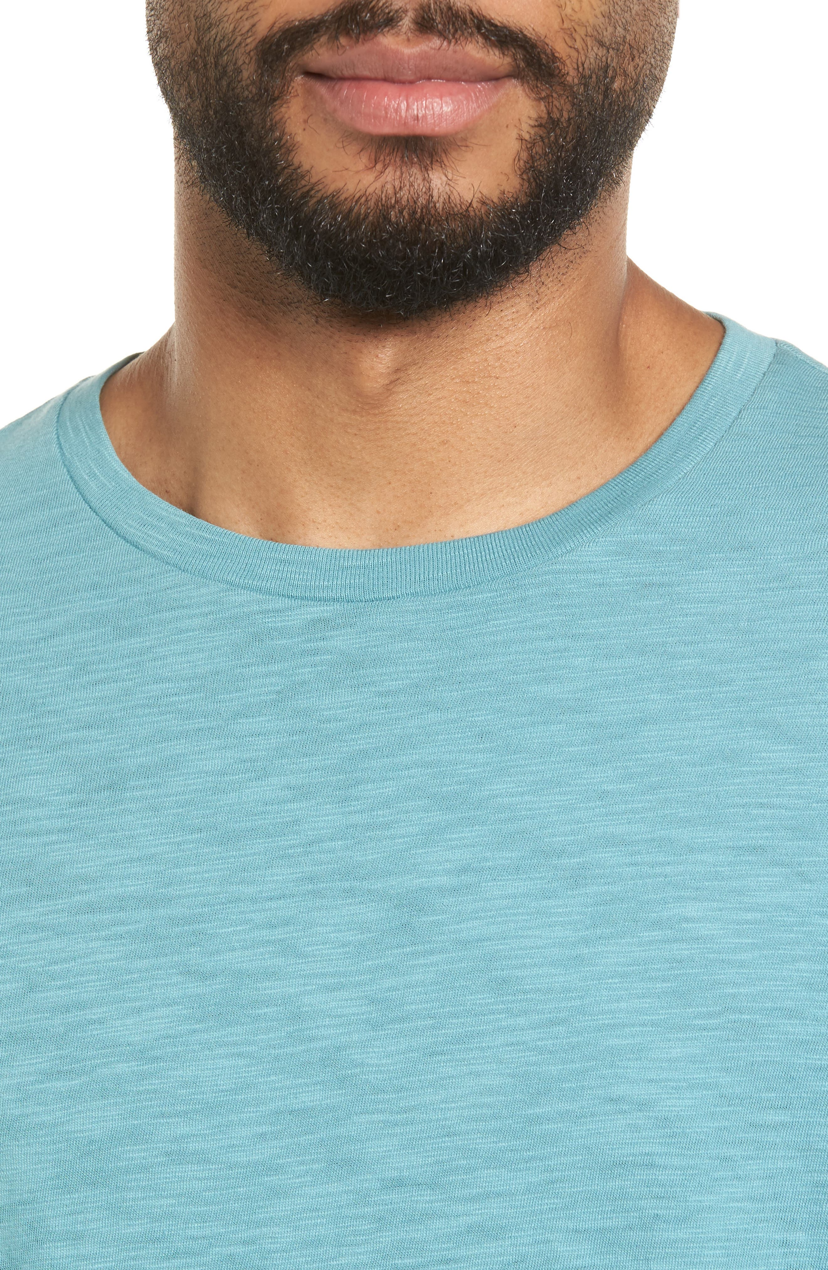 Slim Fit Slub Cotton T-Shirt,                             Alternate thumbnail 4, color,                             Harbor