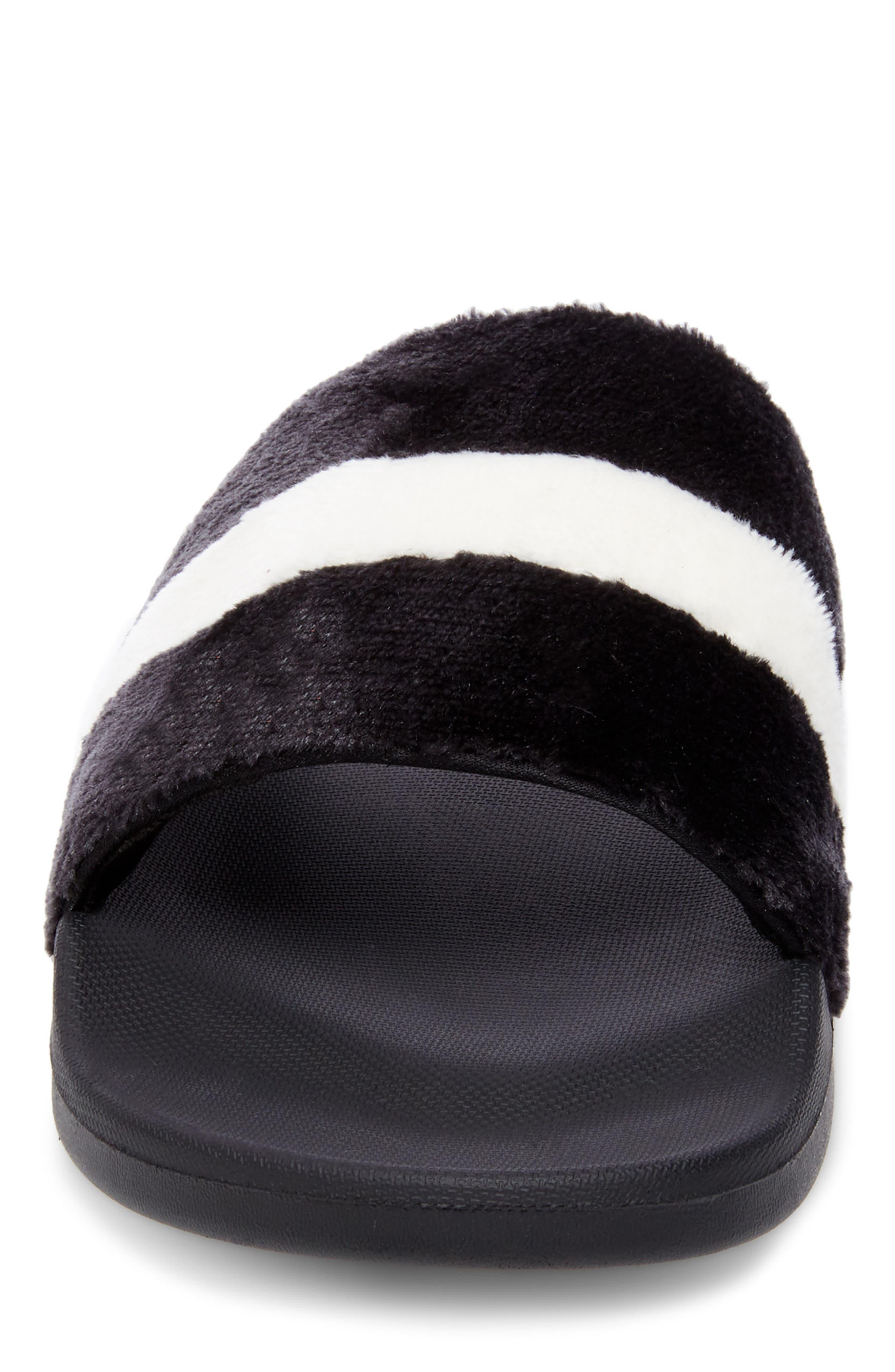 Resport Plush Slide Sandal,                             Alternate thumbnail 4, color,                             Black/ White